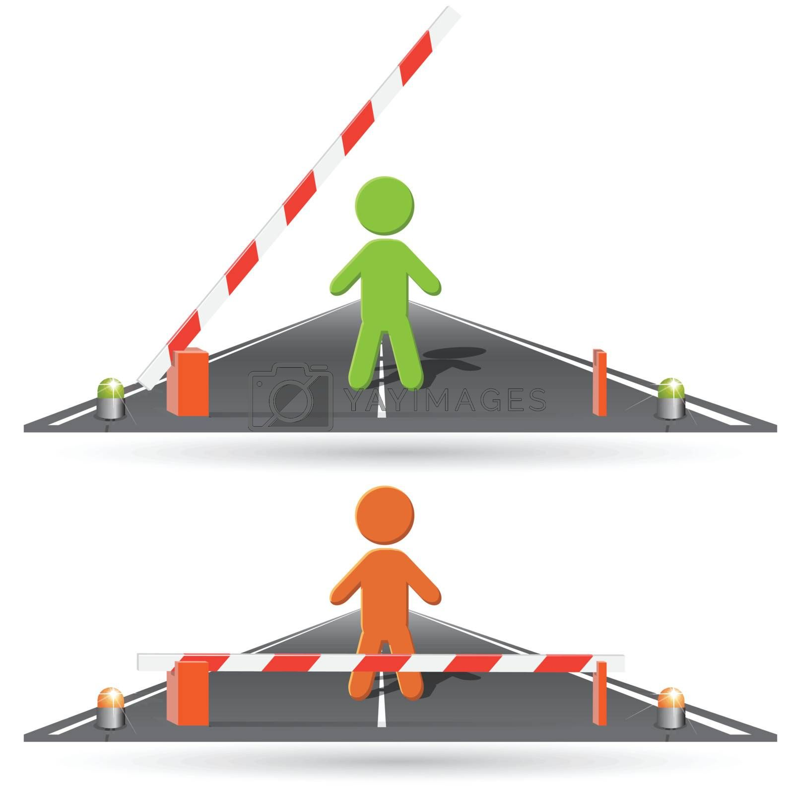 illustration, sign of the stop, open and locked barrier