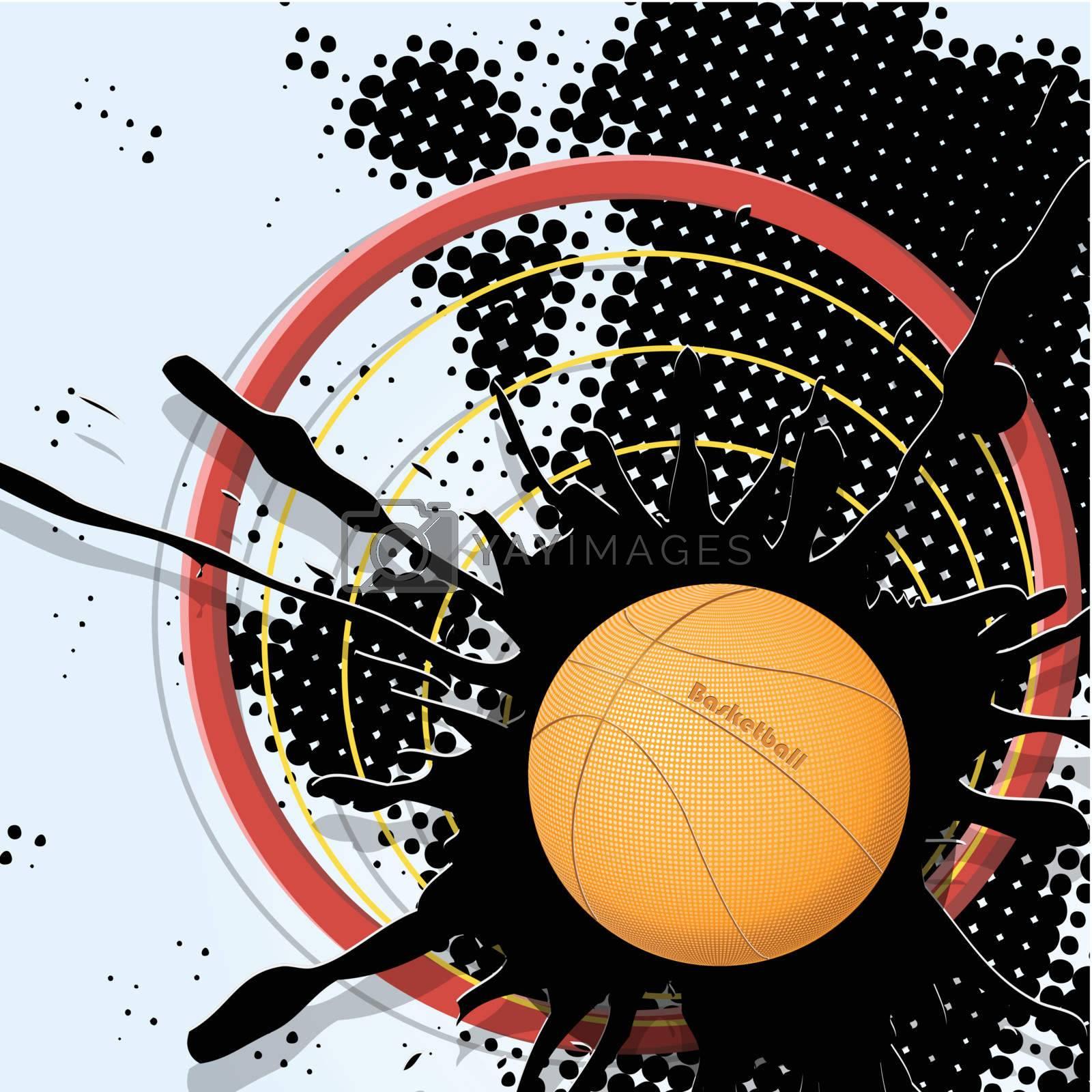 abstract illustration, basketball ball on dark background