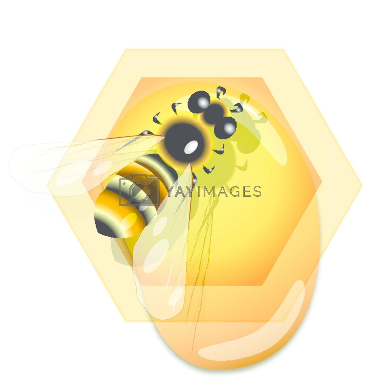 illustration, bee on honeycomb with current honey