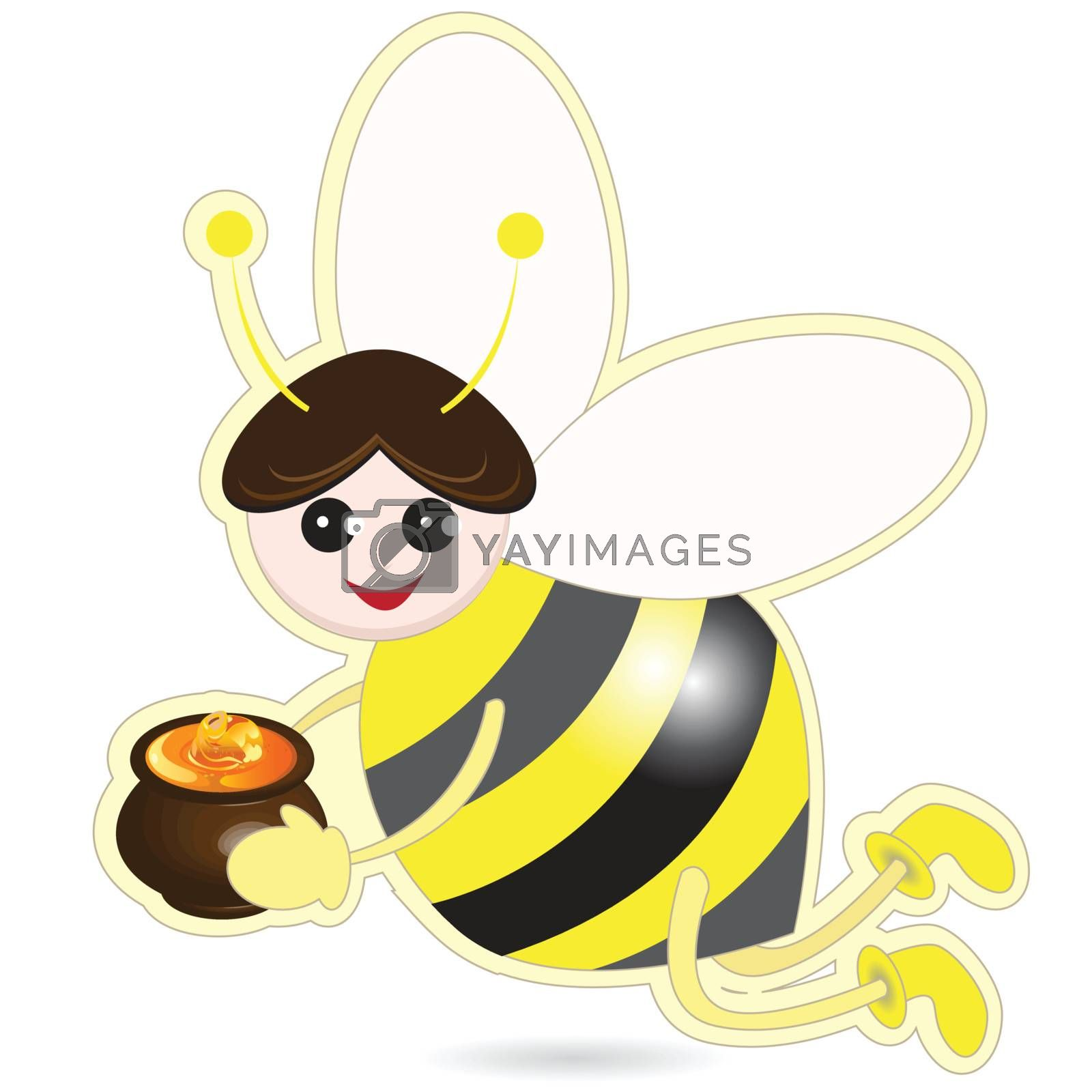 illustration, bee with pot of the honey on white background