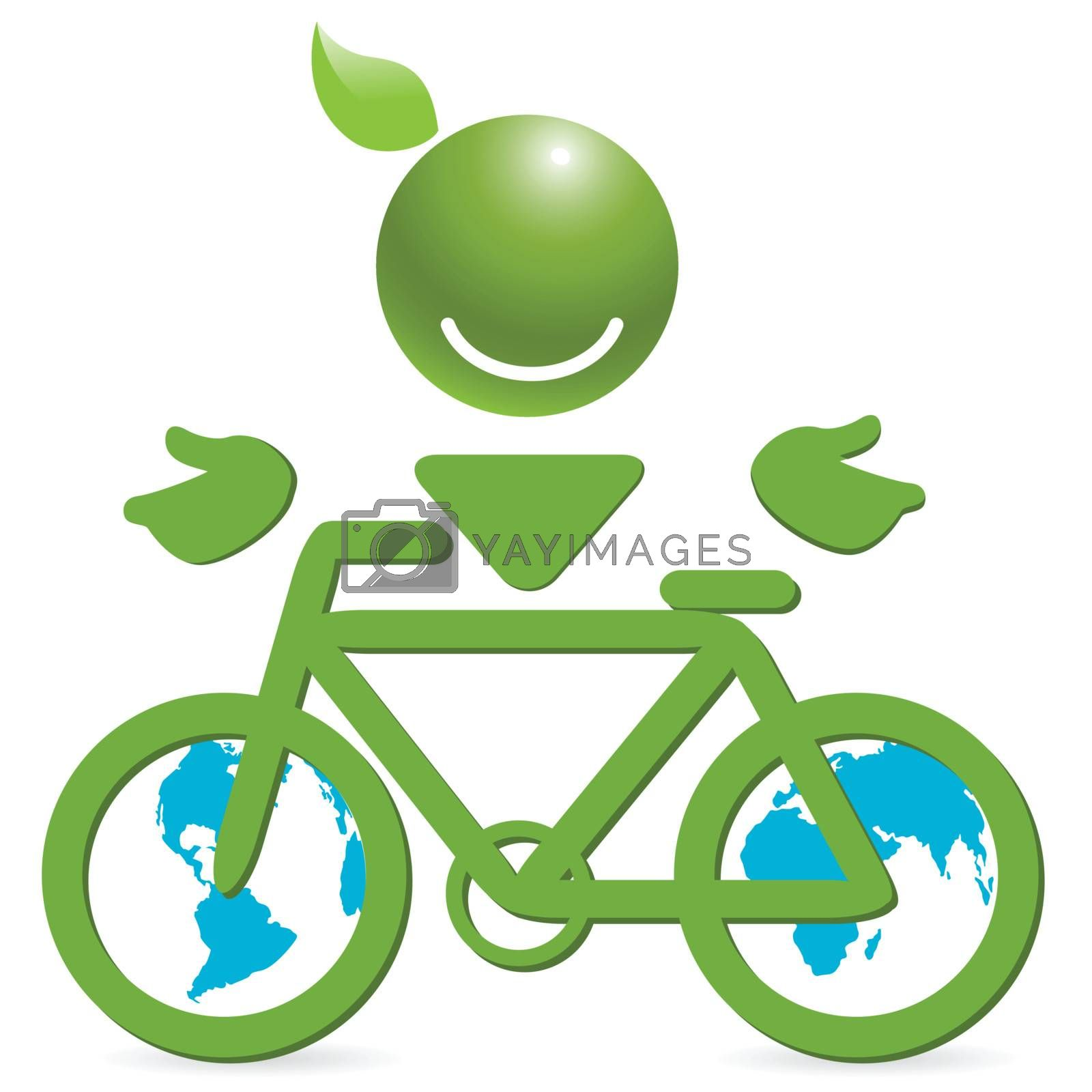 illustration, green bicycle as ecological transport and symbolic person
