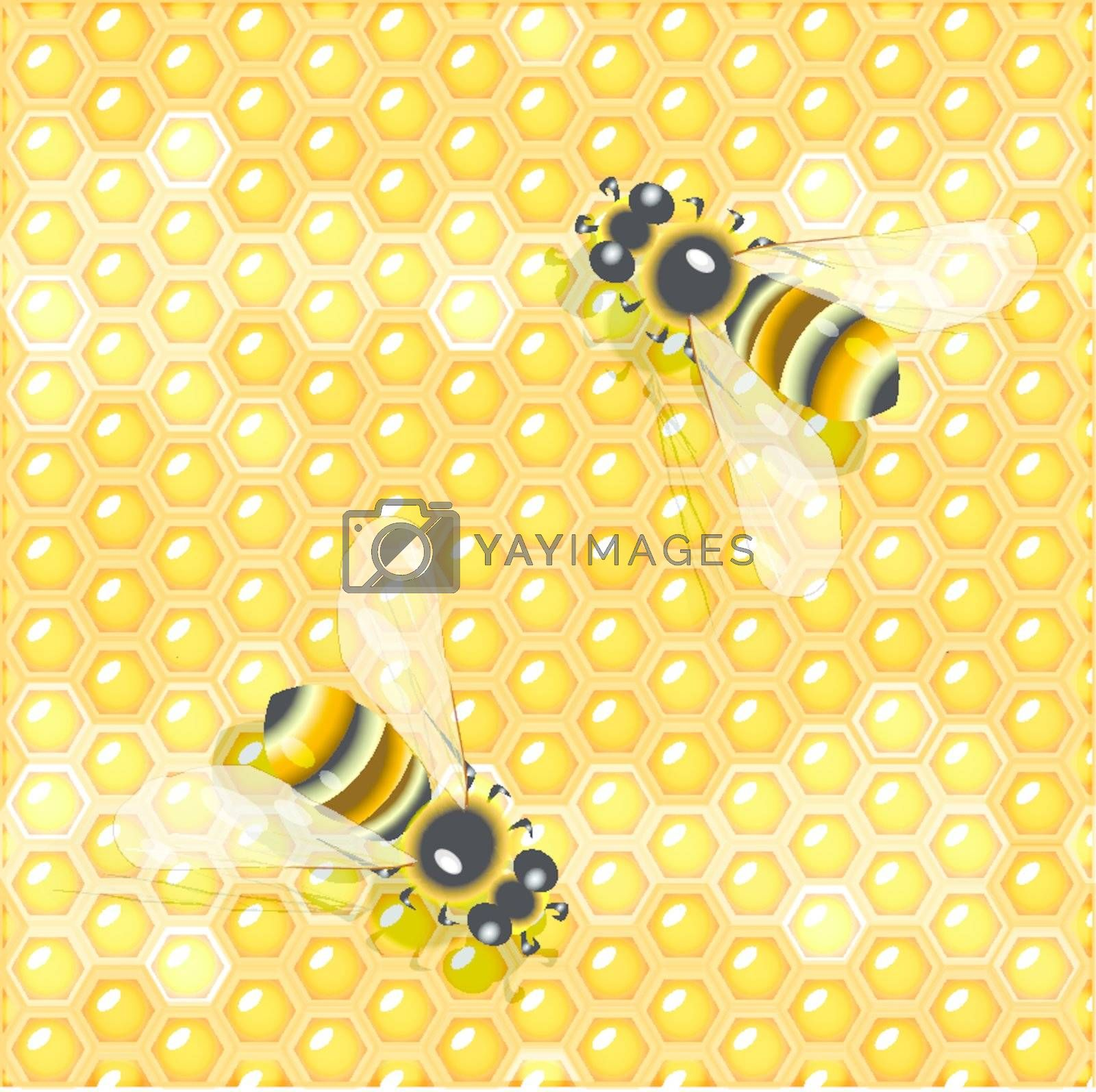 illustration, two bees on background of the cellural honey