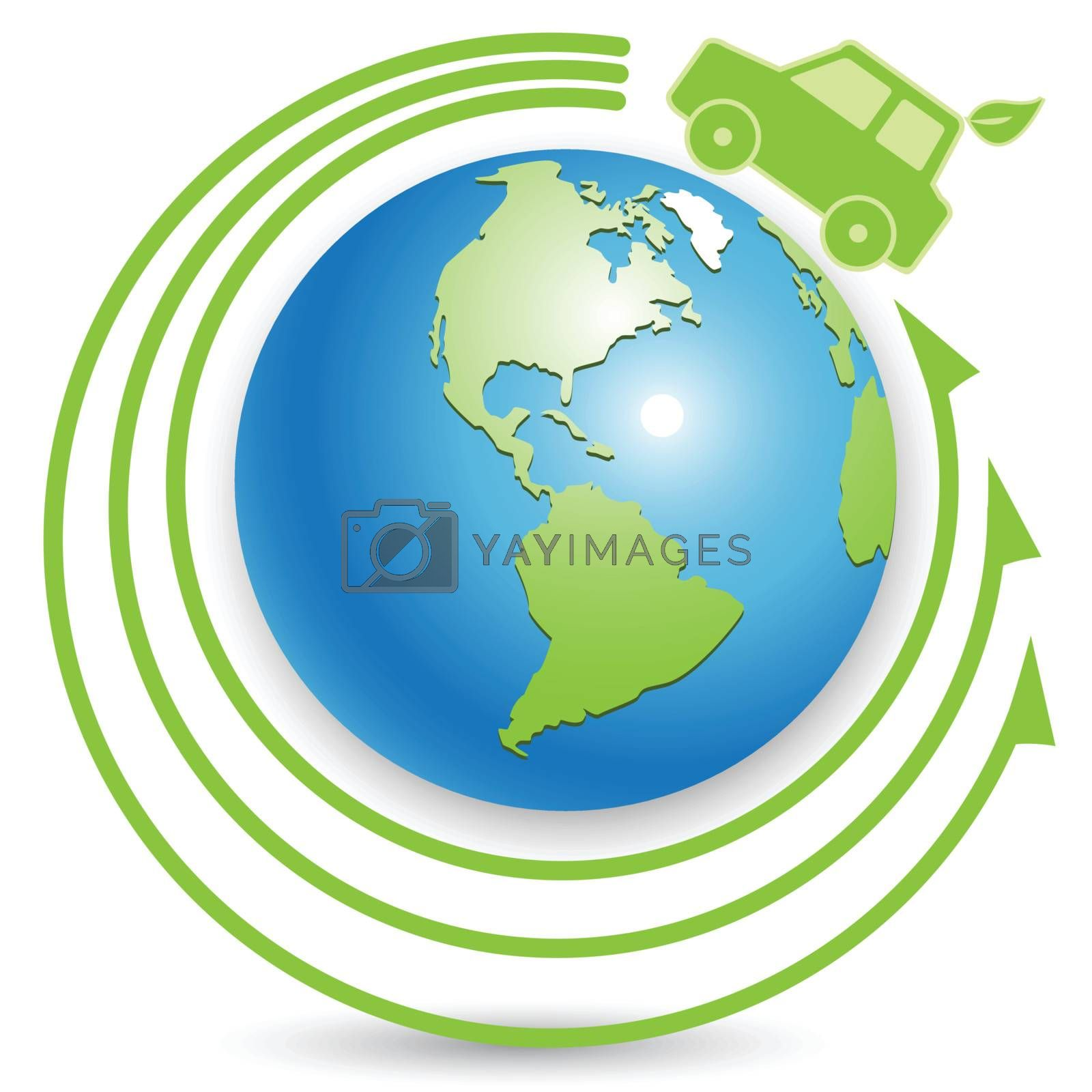 illustration abstract green electric car and globe
