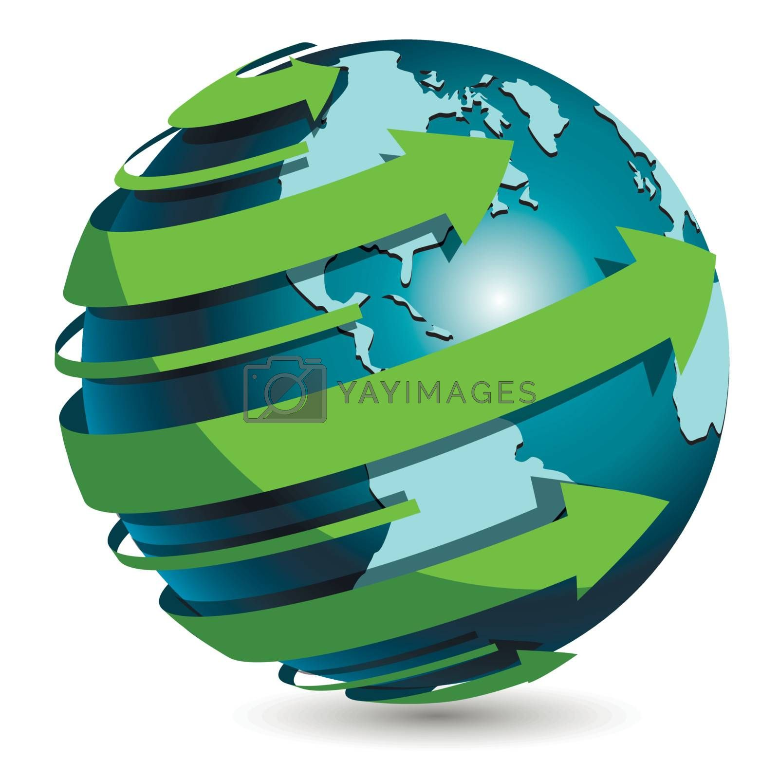 illustration, abstract blue globe with green arrow
