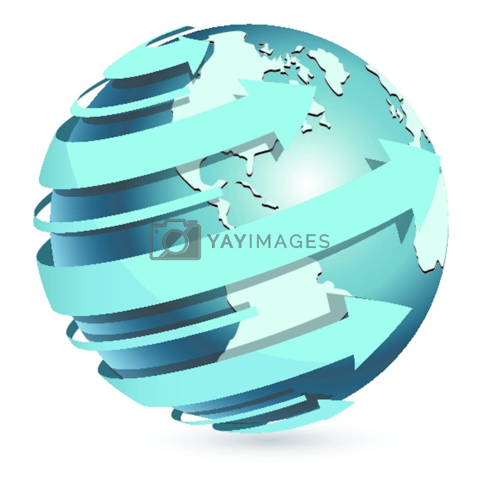 Illustration, transparent blue globe on white-blue background