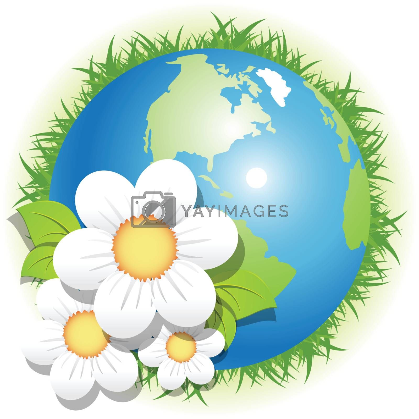 Illustration, blue globe, herb and flowers on white background