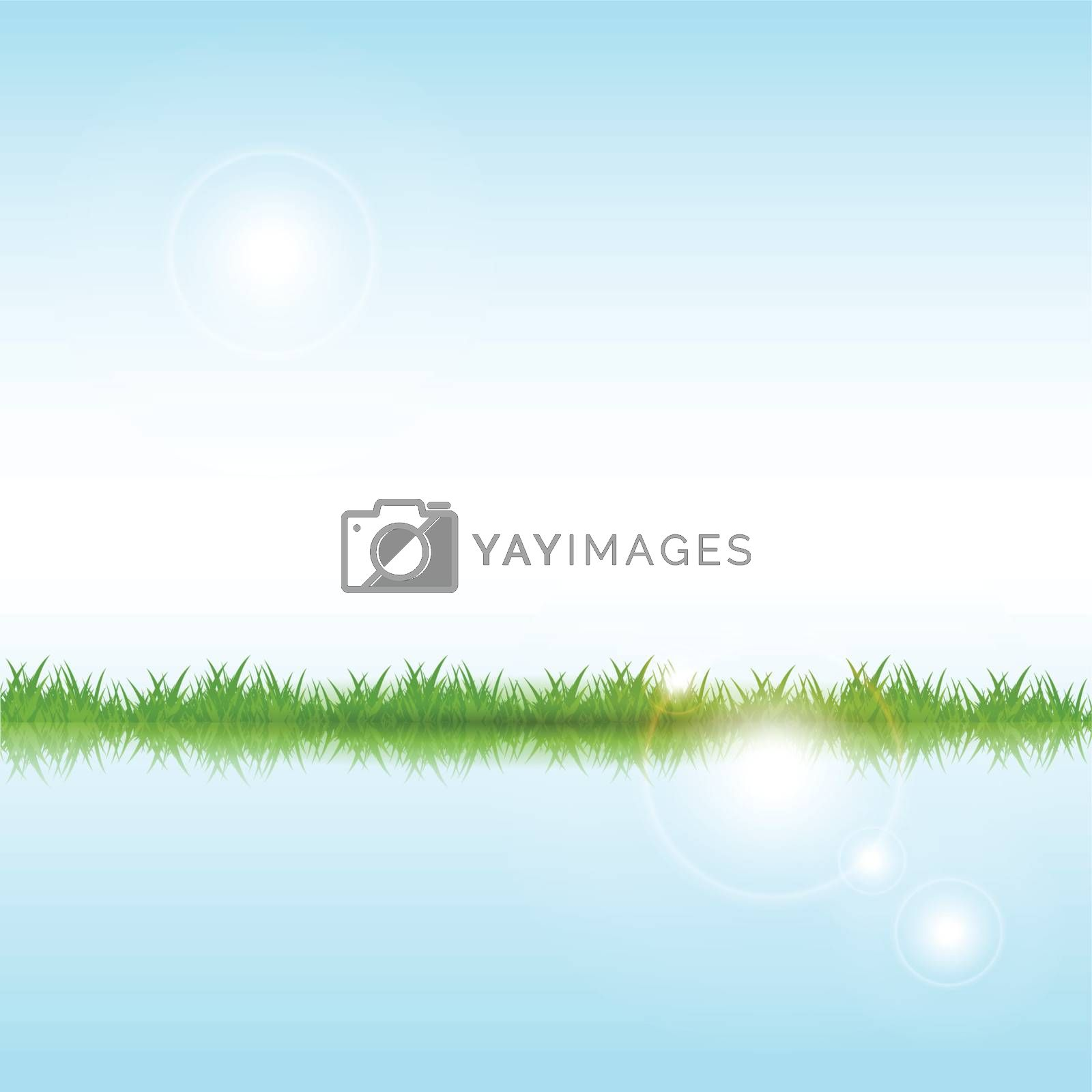 abstract illustration, green herb on blue background