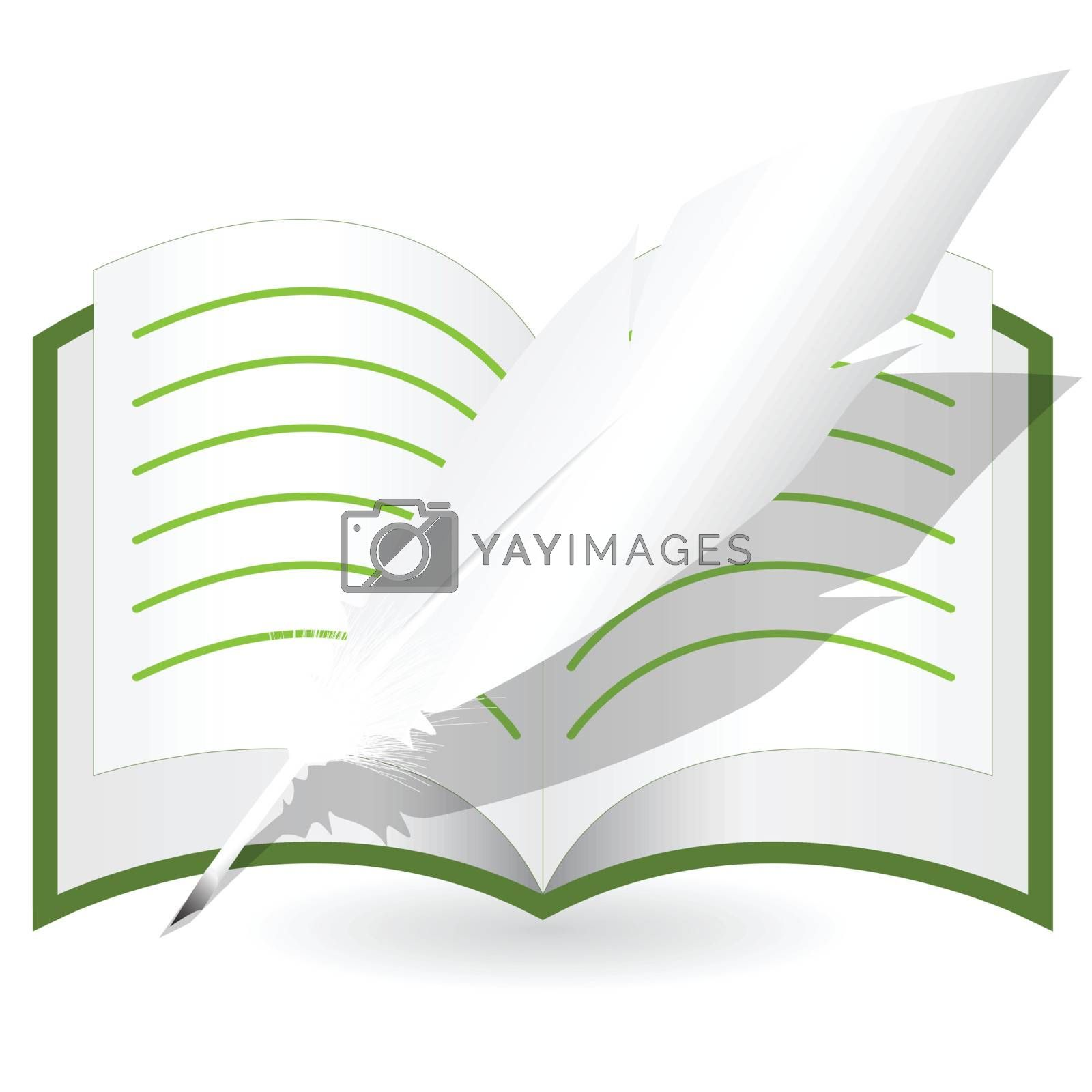 illustration, feather and openning copy-book on white background