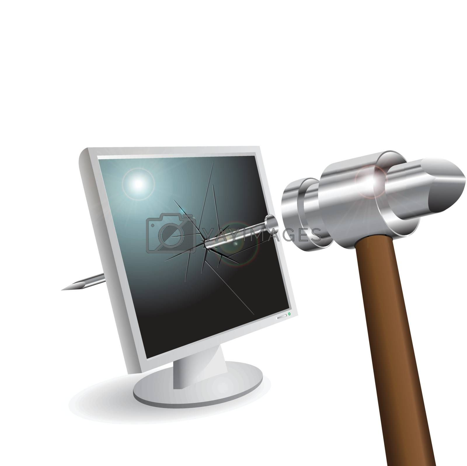 illustration, gavel hammers a nail with liquid-cristal monitor