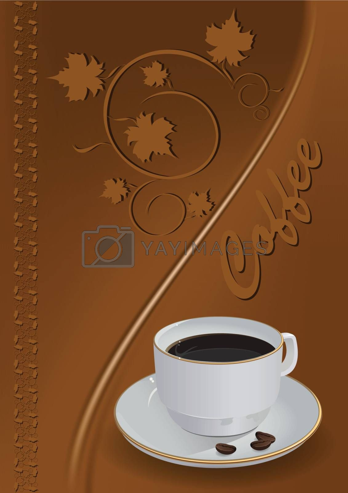 illustration, cup with coffee on background of the brown pattern
