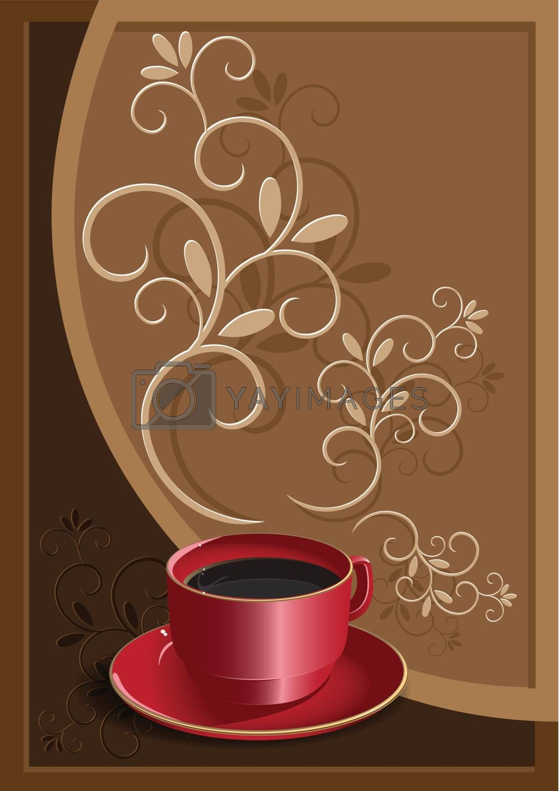 illustration, red cup with coffee on background of the brown pattern