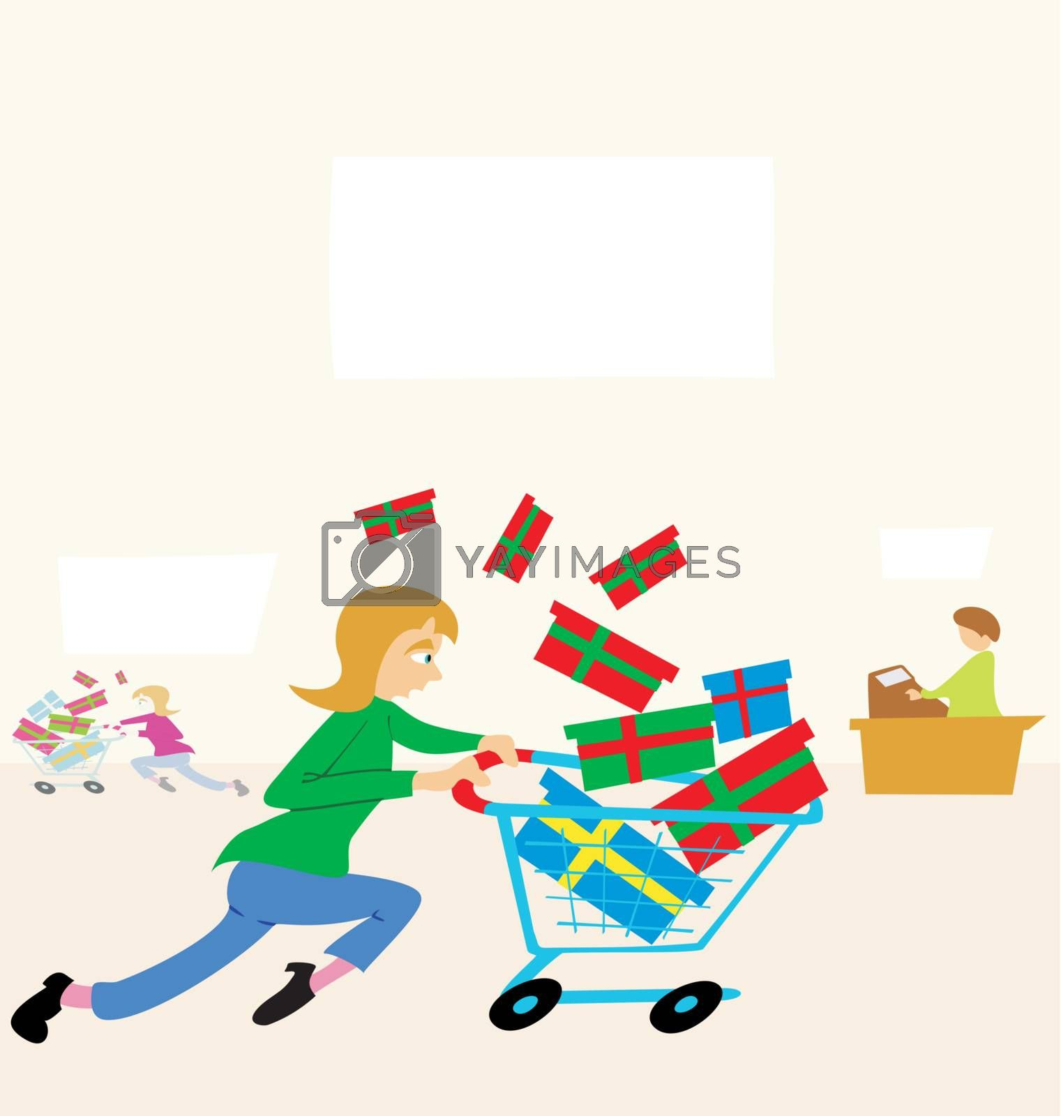 Woman running with a shopping cart filled with gifts in a store