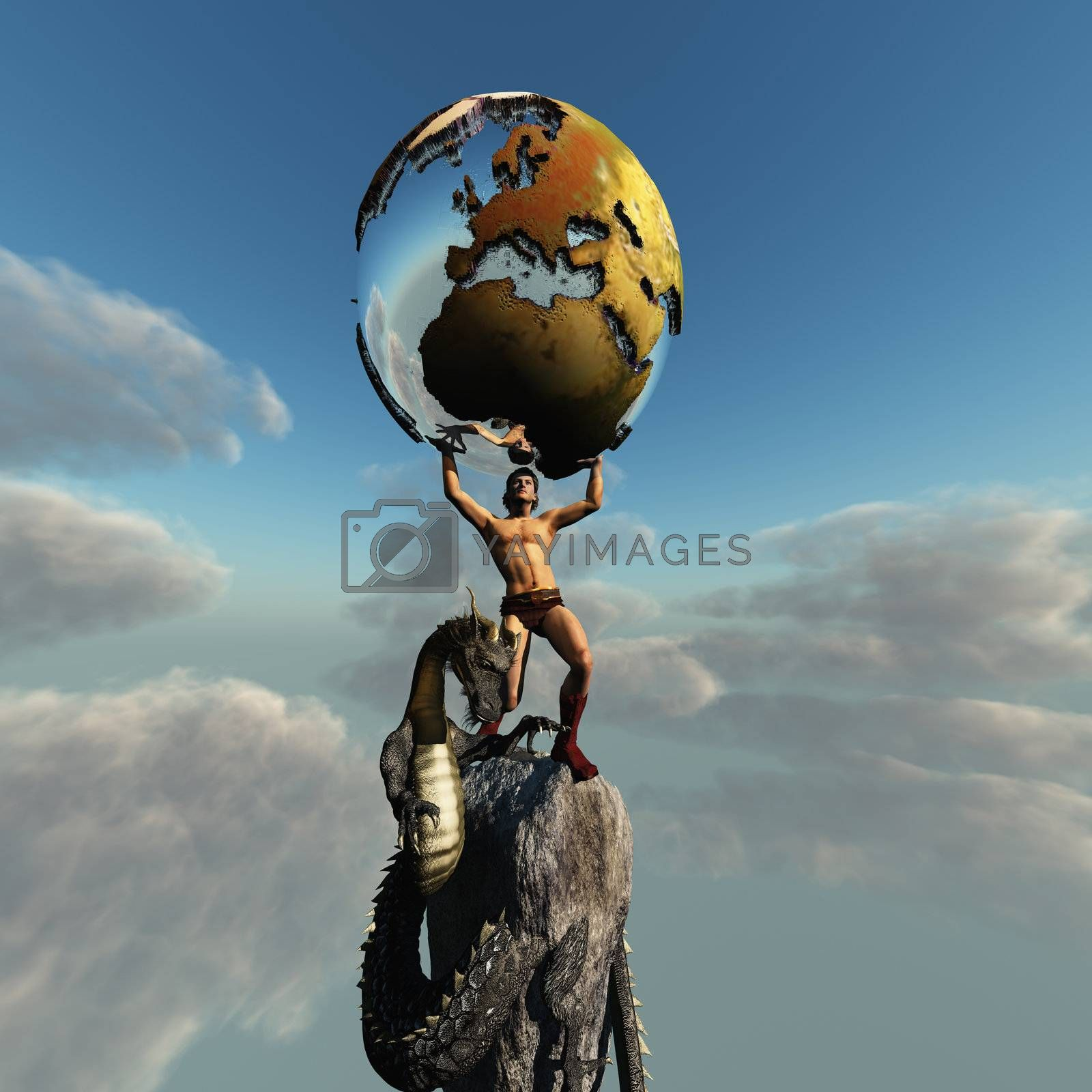 Atlas holds the Earth. The dragon represents the unrest in this part of the world.