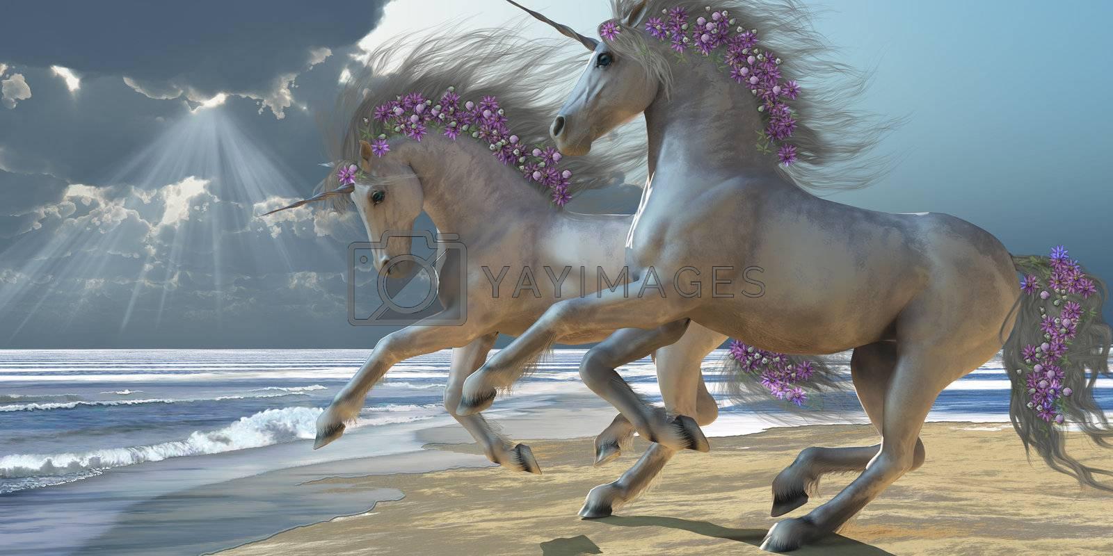 Two beautiful magical white unicorns frolic on the beach.