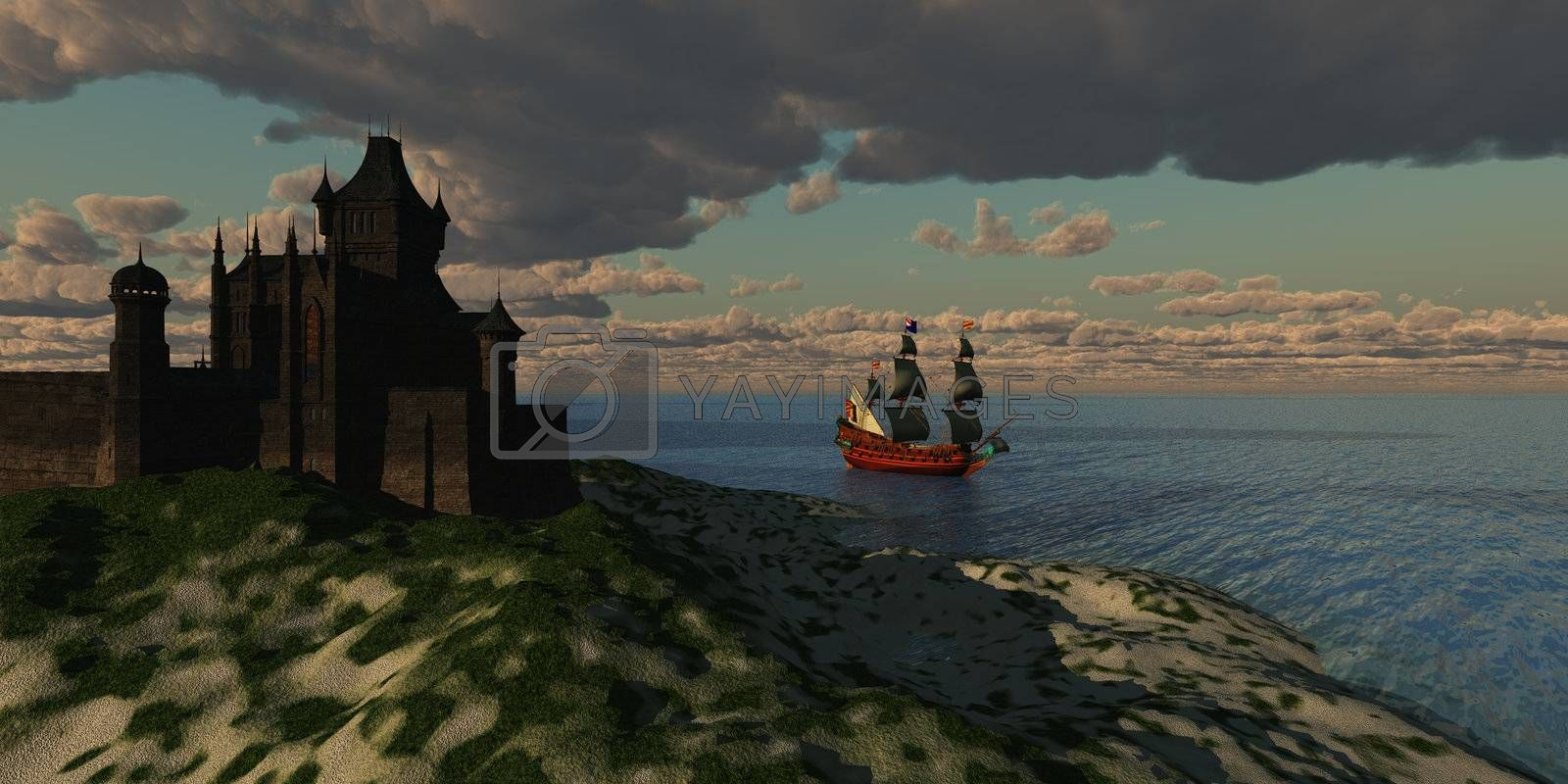 A beautiful galleon sails by an imposing castle on the shore of a new country.