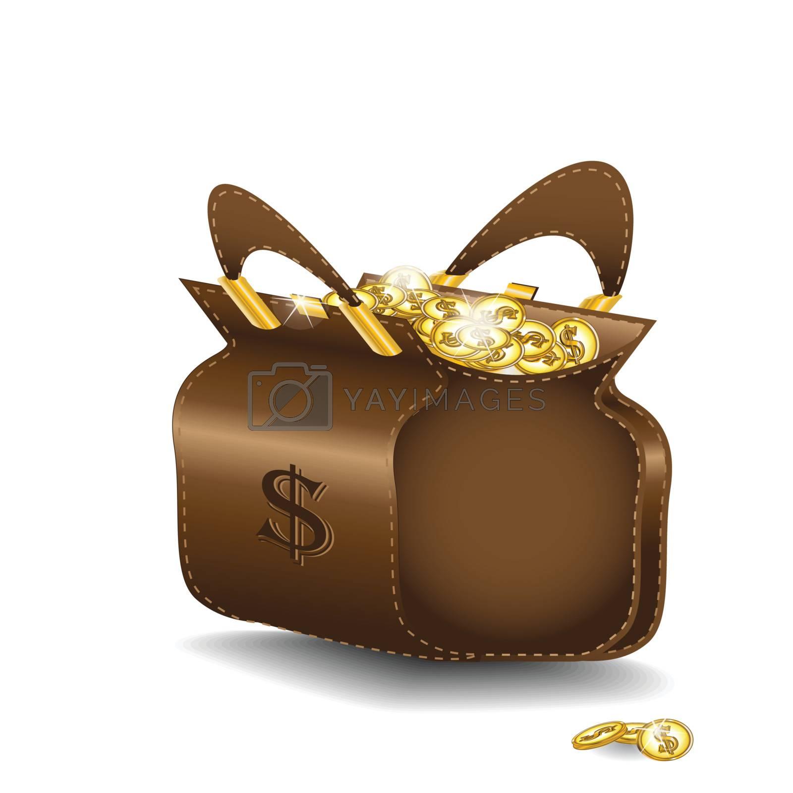 illustration, traveling bag with golden brilliant coin
