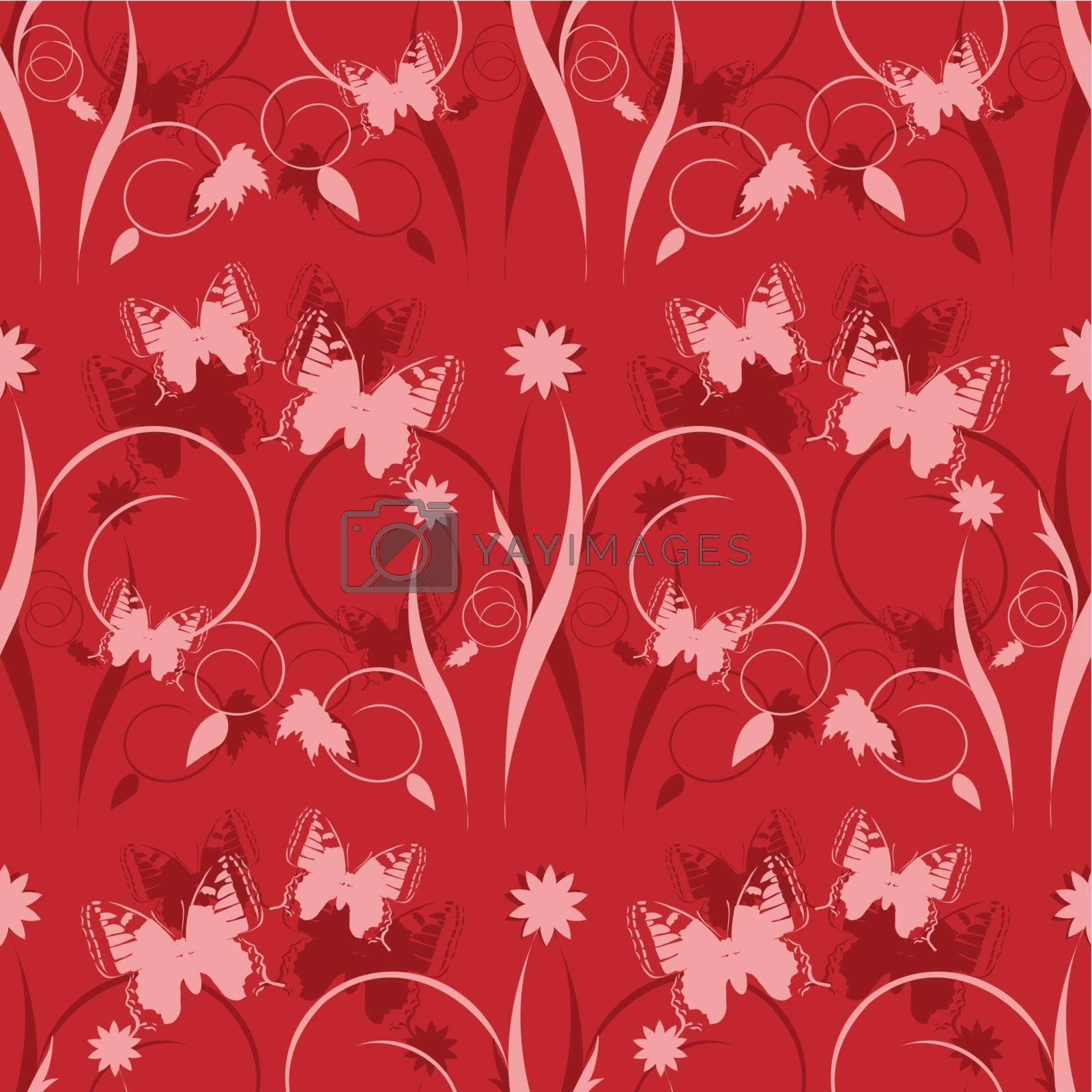 seamless texture rose butterflies on red background
