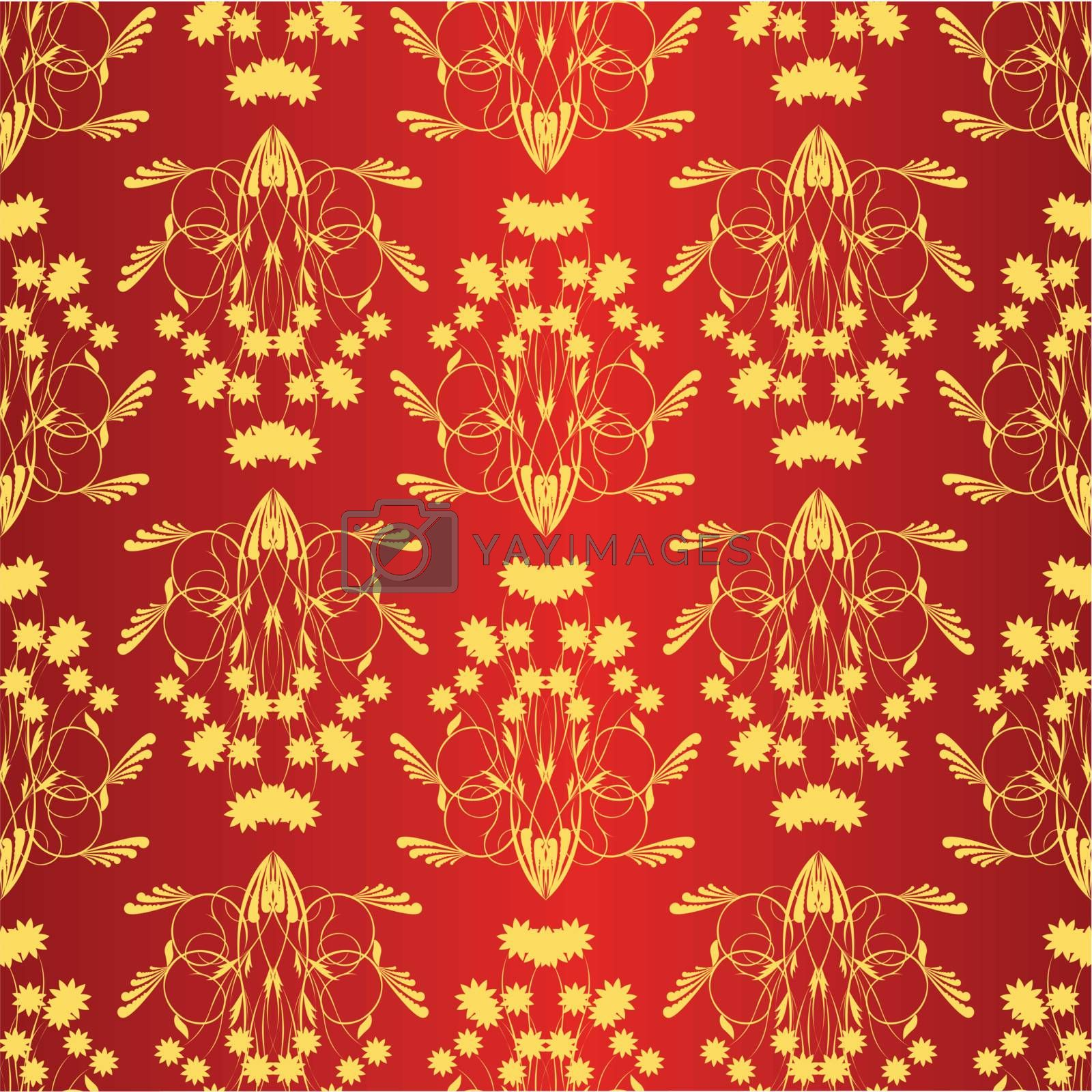 seamless texture yellow pattern on red background