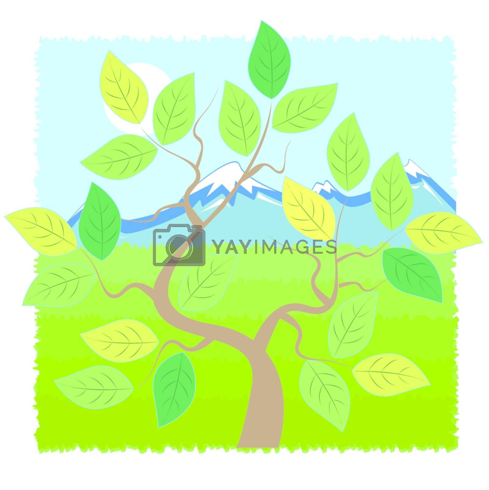 tree on background of the mountain landscape