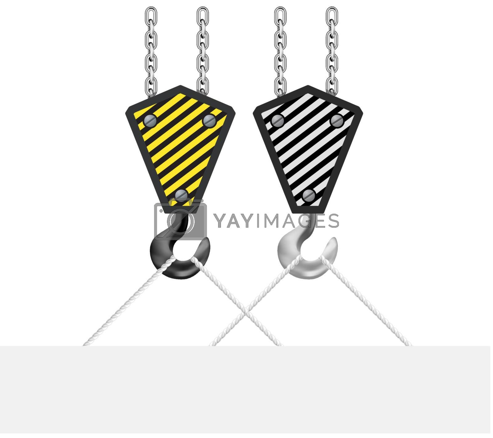 Construction crane hook lifting blank board on white background. Vector illustration