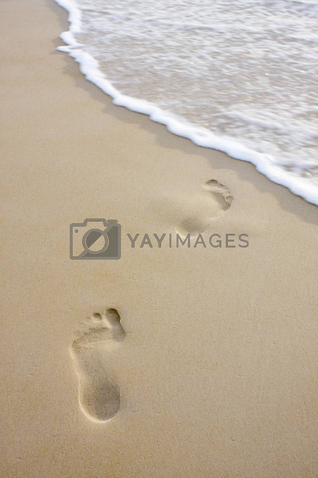 Two footprints on a beach leading into the sea