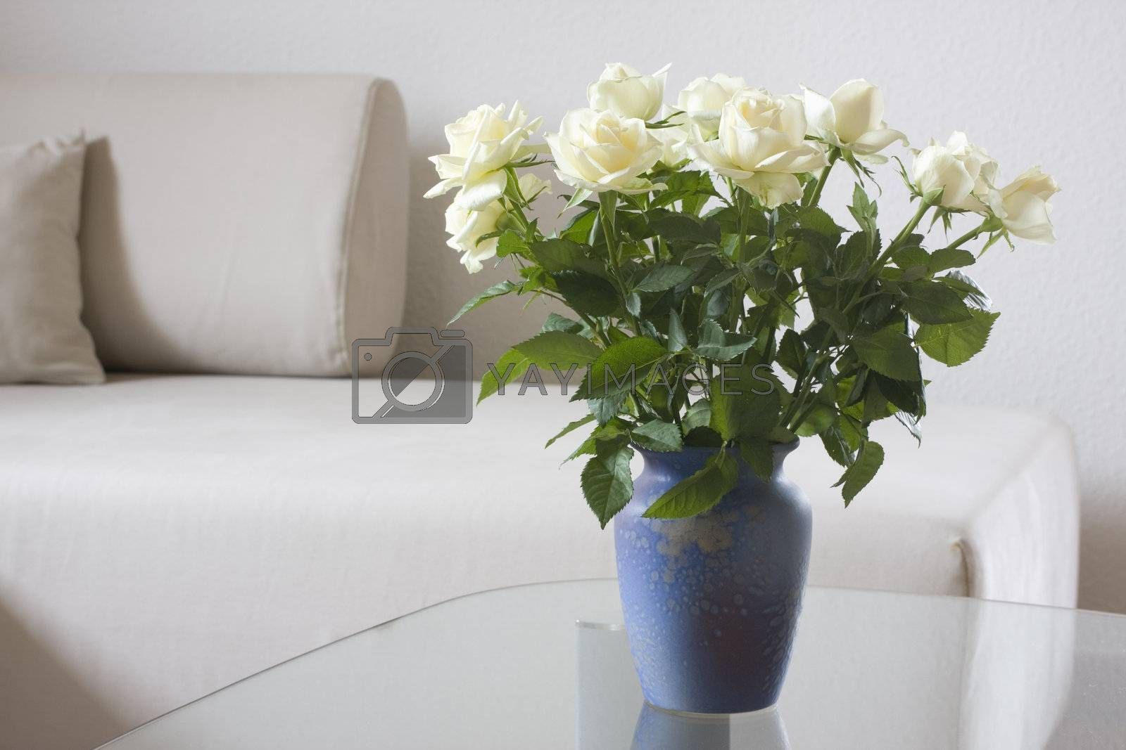 White roses in a living room by ArtmannWitte