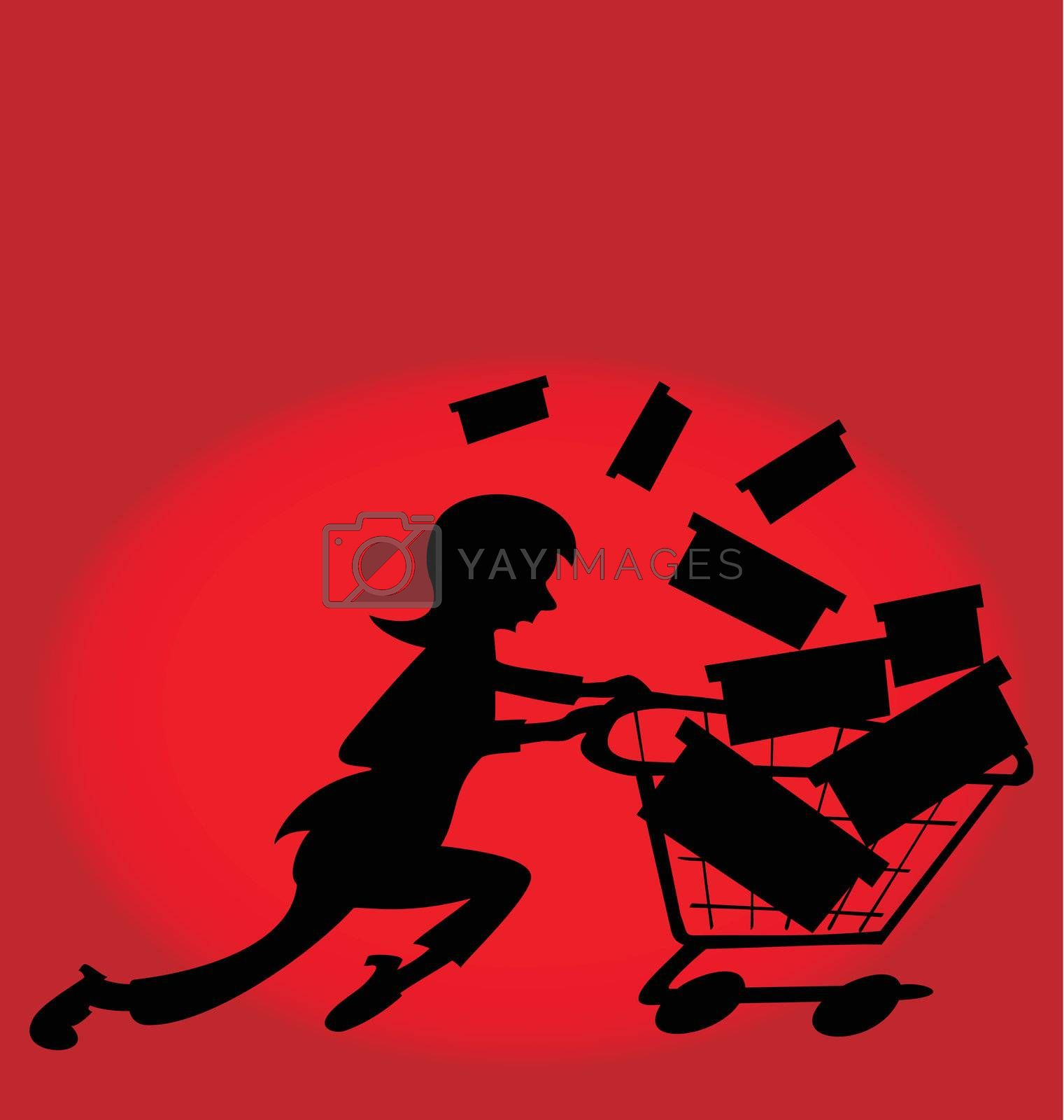 Illustration of a woman running to buy gifts in a store