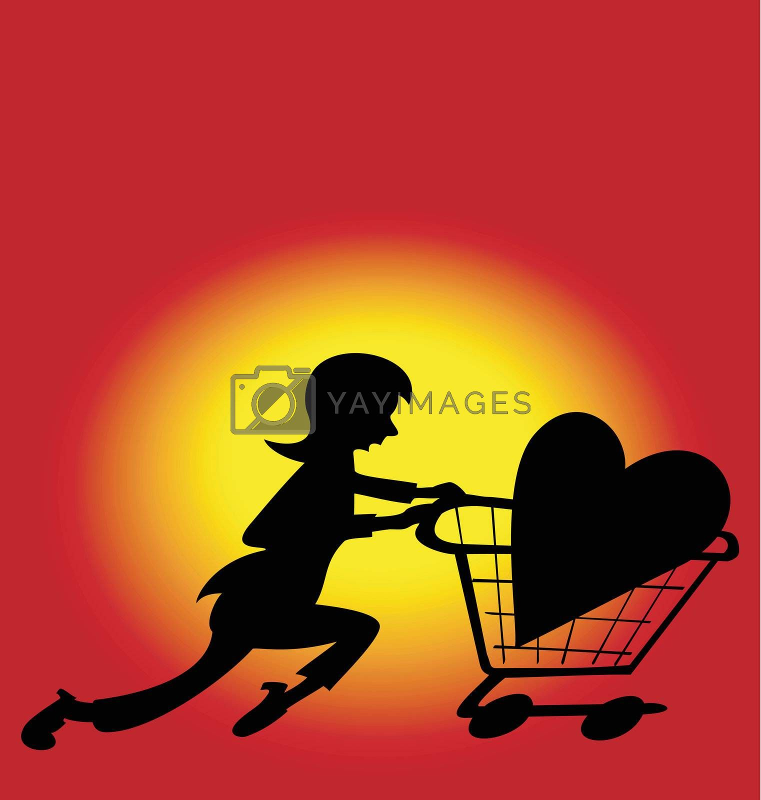 Illustration of a woman running with a heart she bought in a store