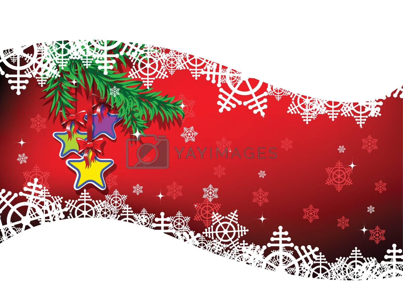 illustration holiday stars on the ribbons with bow