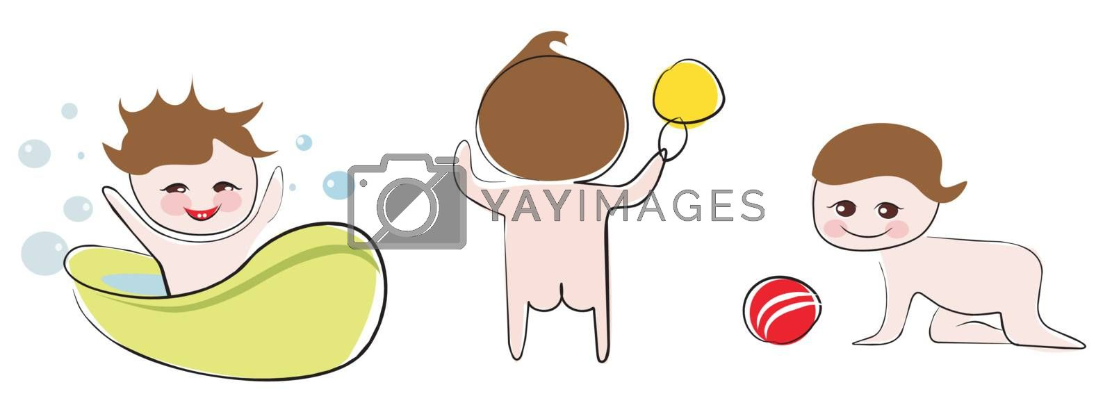 funny and happy babies set of isolated illustration