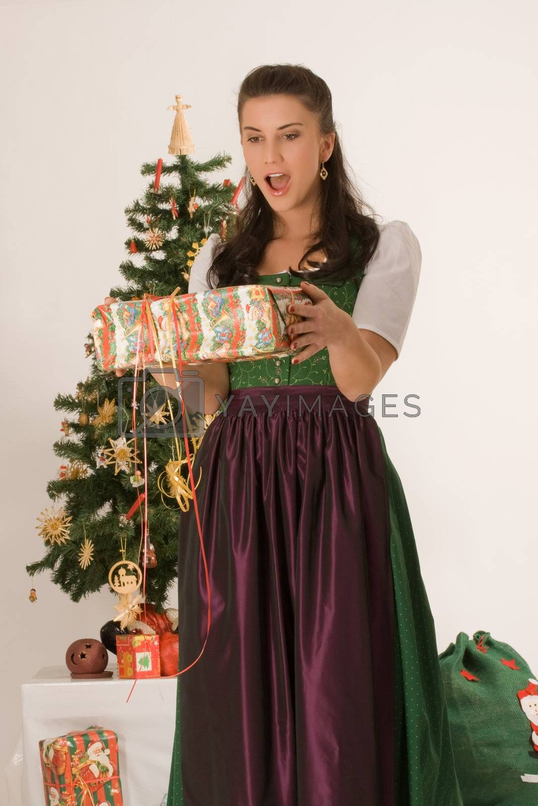 Bavarian Girl with Christmas present by STphotography