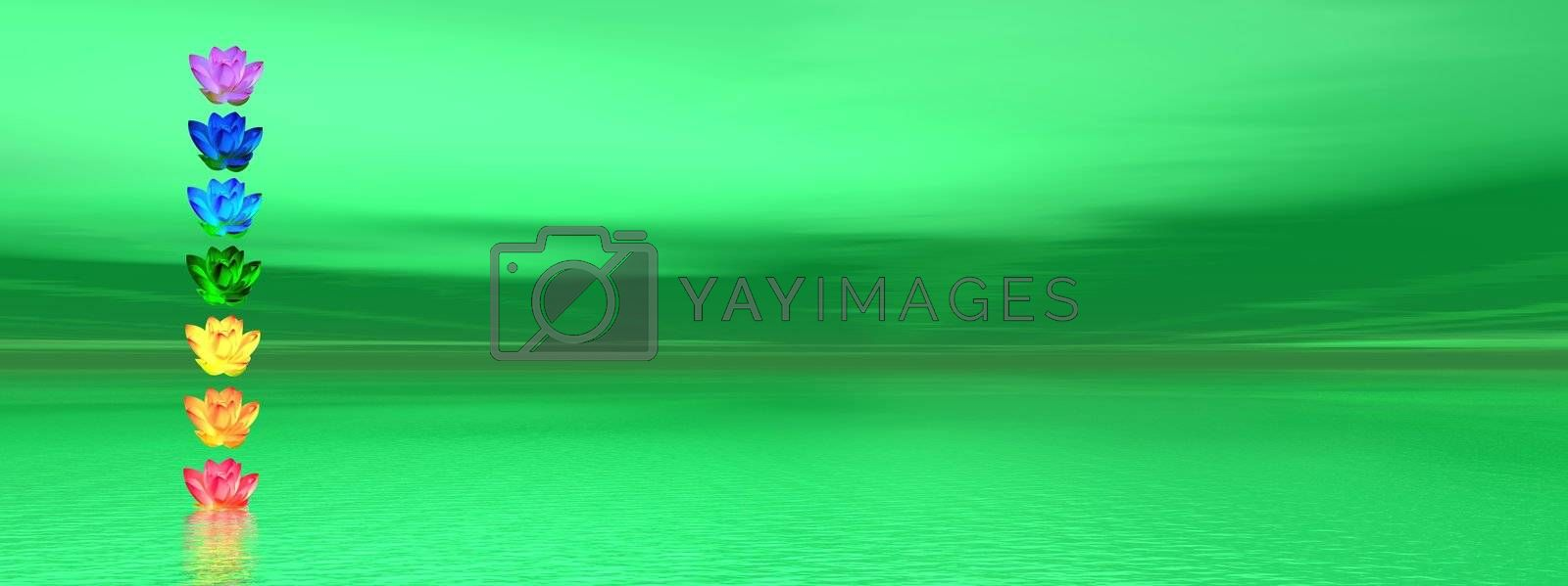 Chakra colors of lily flower in a column upon ocean green background