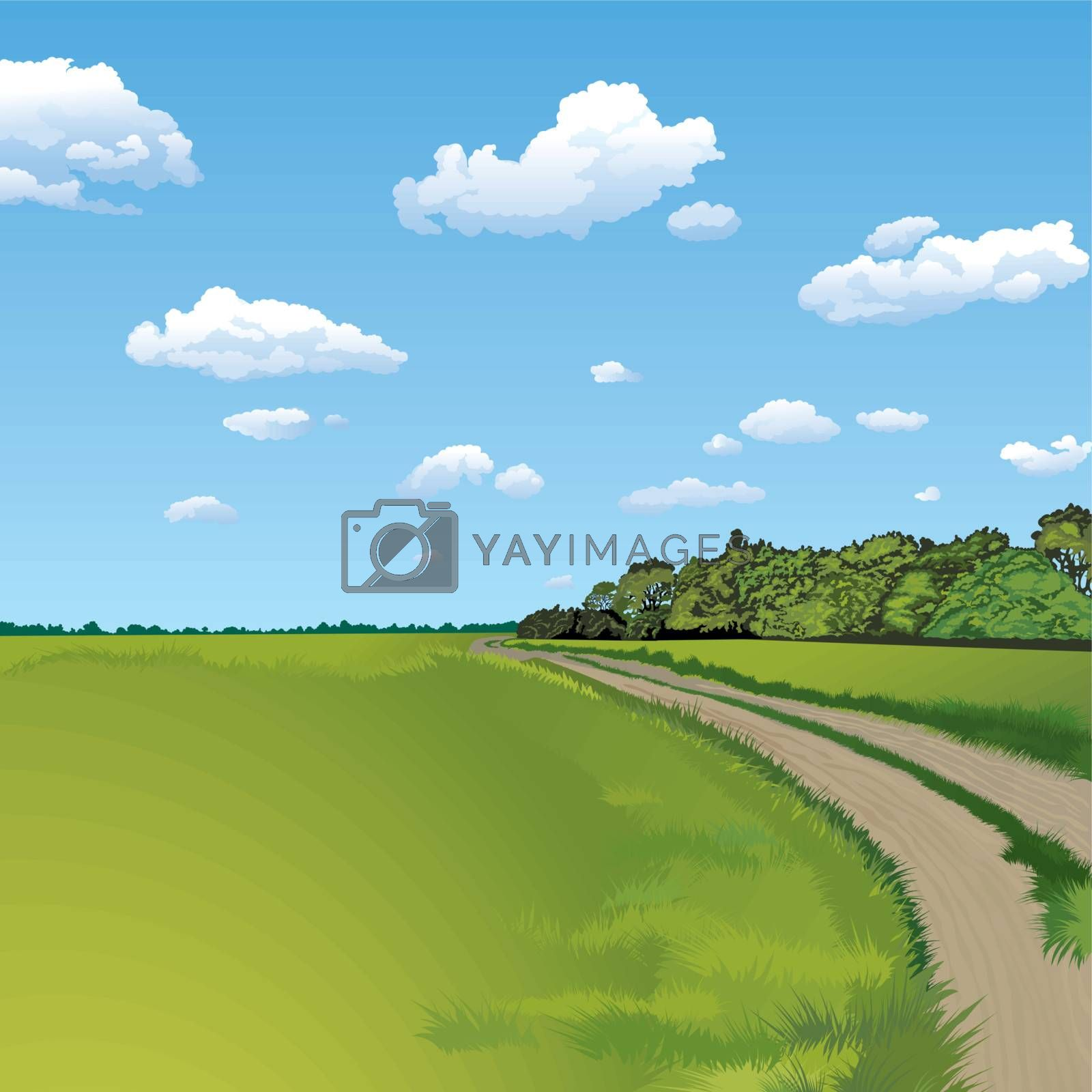 Countryside Road, Rural Scene, editable vector illustration