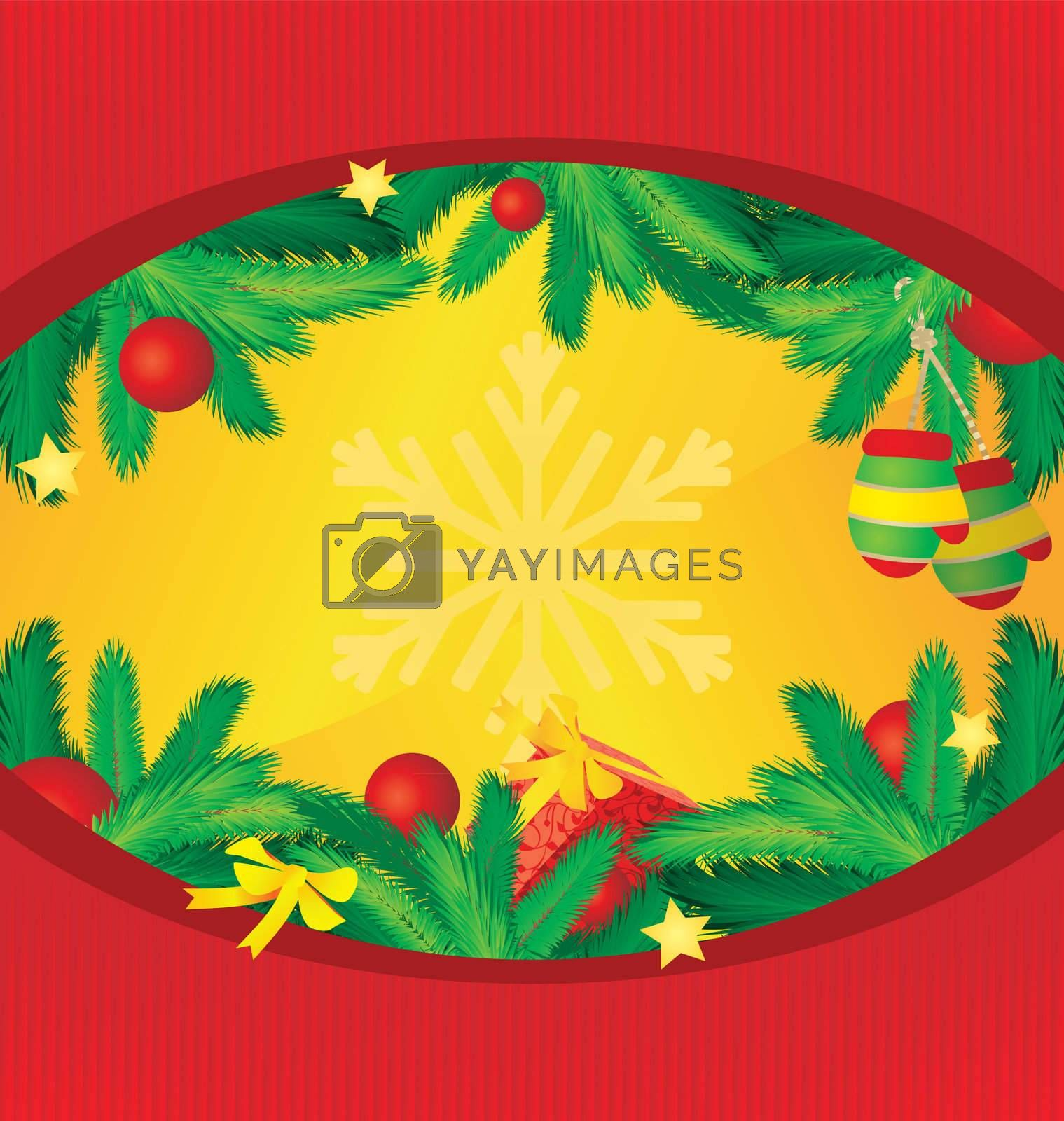 circle vector frame with cristmas tree decor