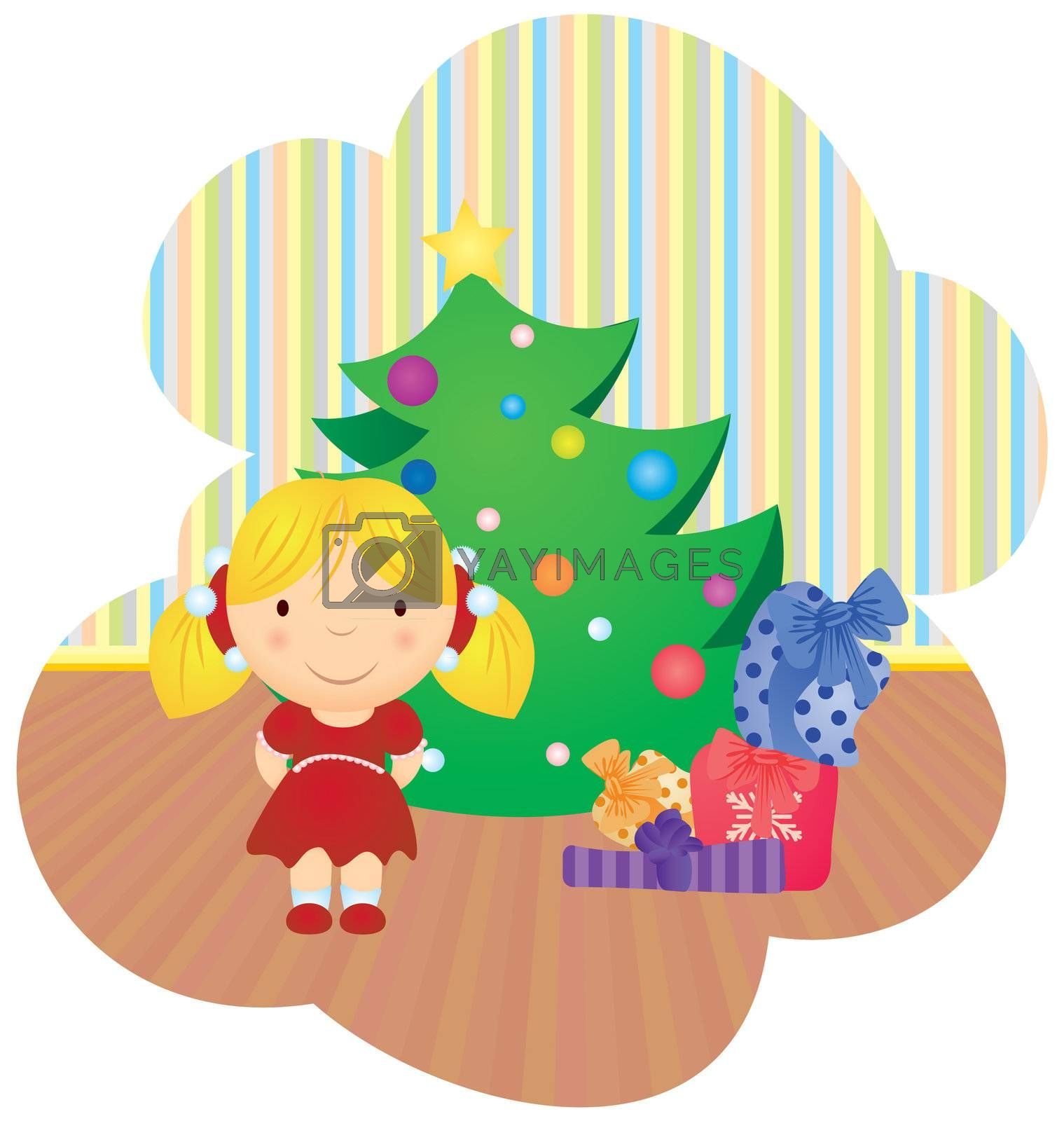 vector cartoon girl and christmas tree with gifts