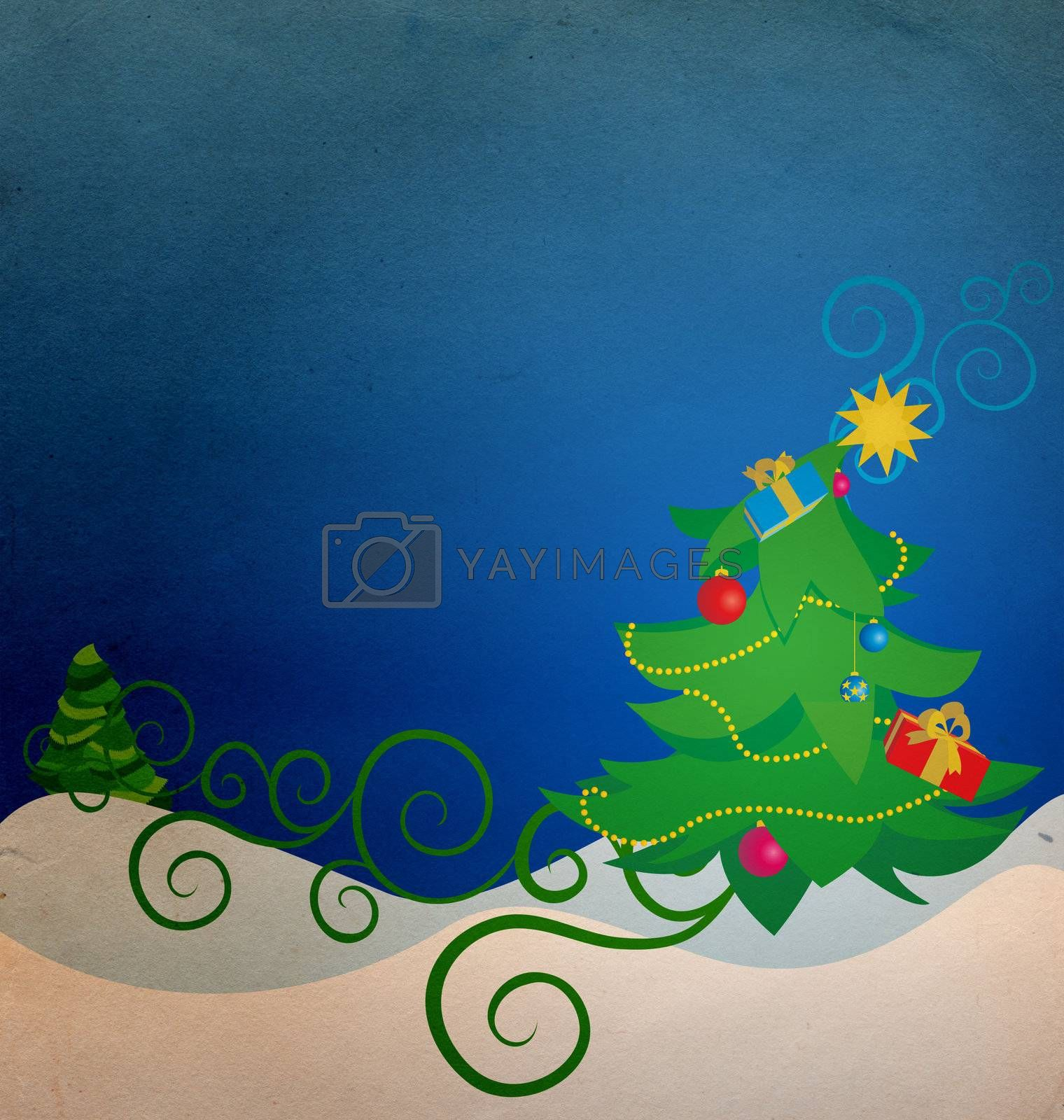 vintage christmas tree with gift boxes illustration