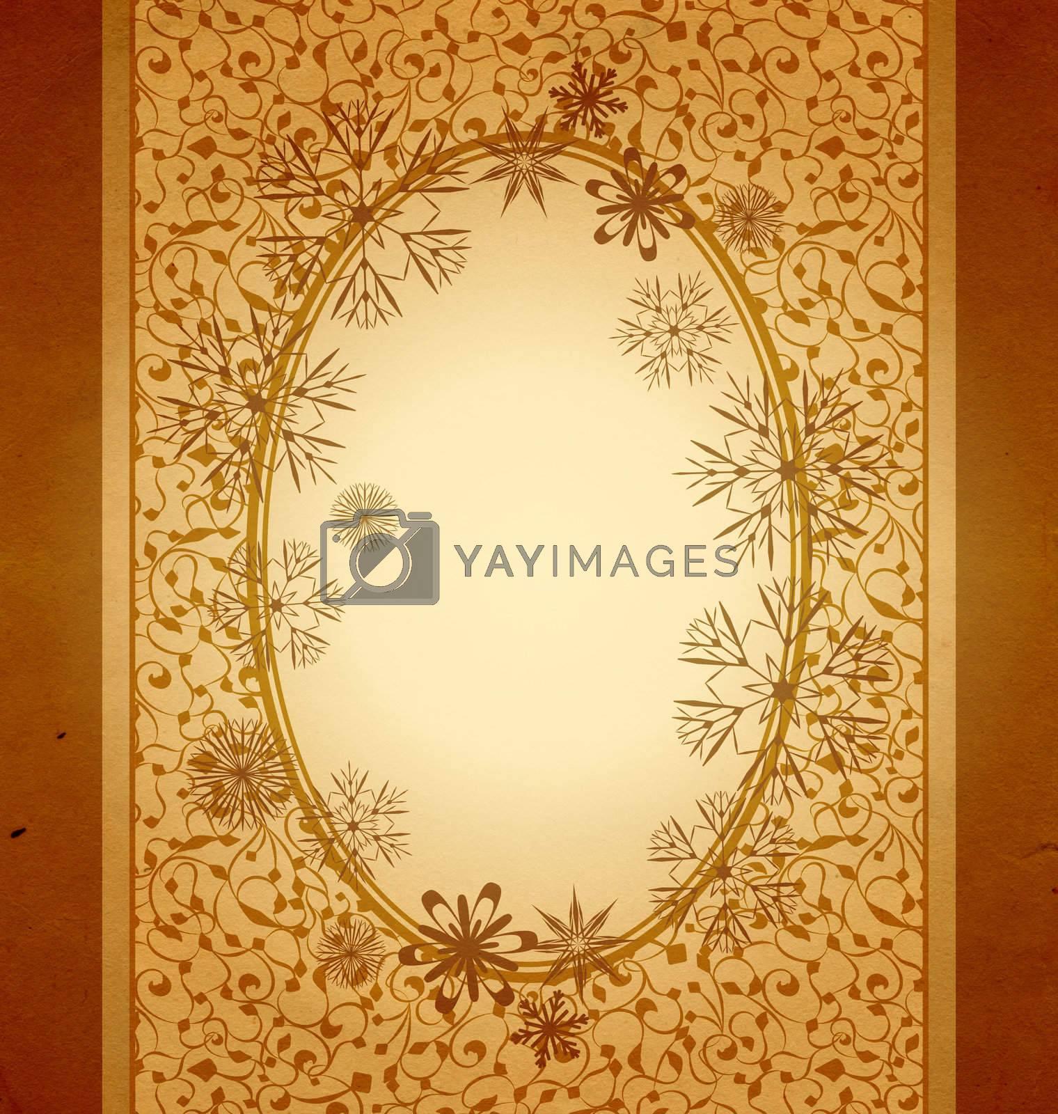 christmas vintage snowflake frame card illustration