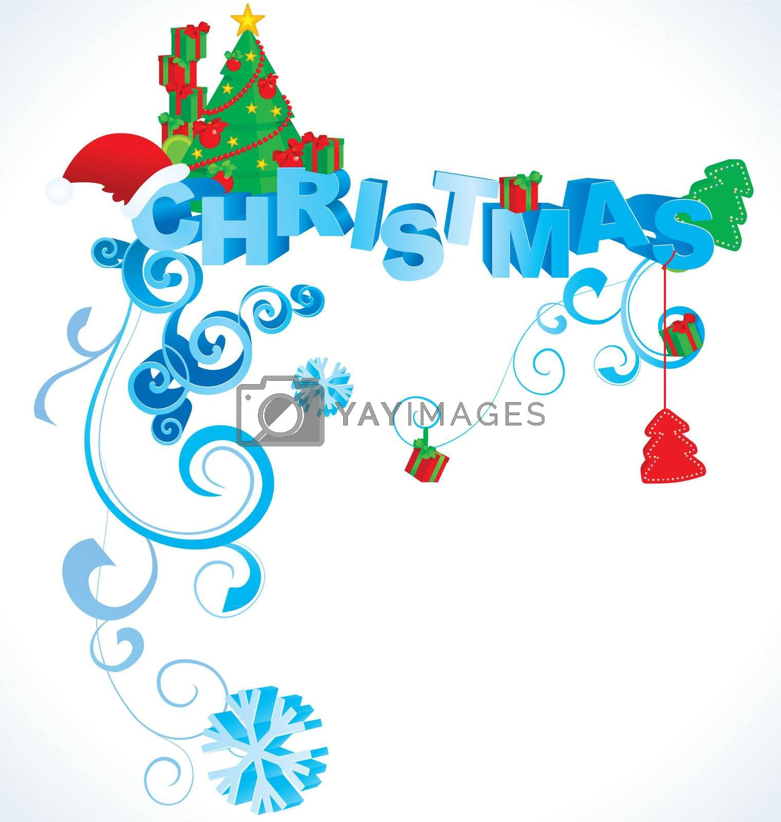 christmas 3D text in vintage style vector illustration