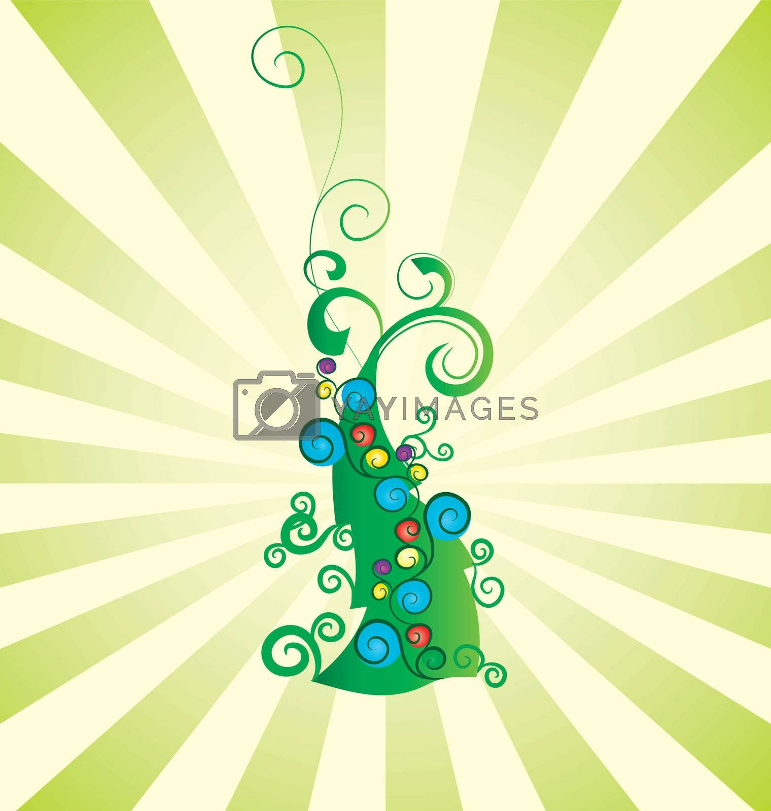 vintage christmas tree with gift boxes vector illustration