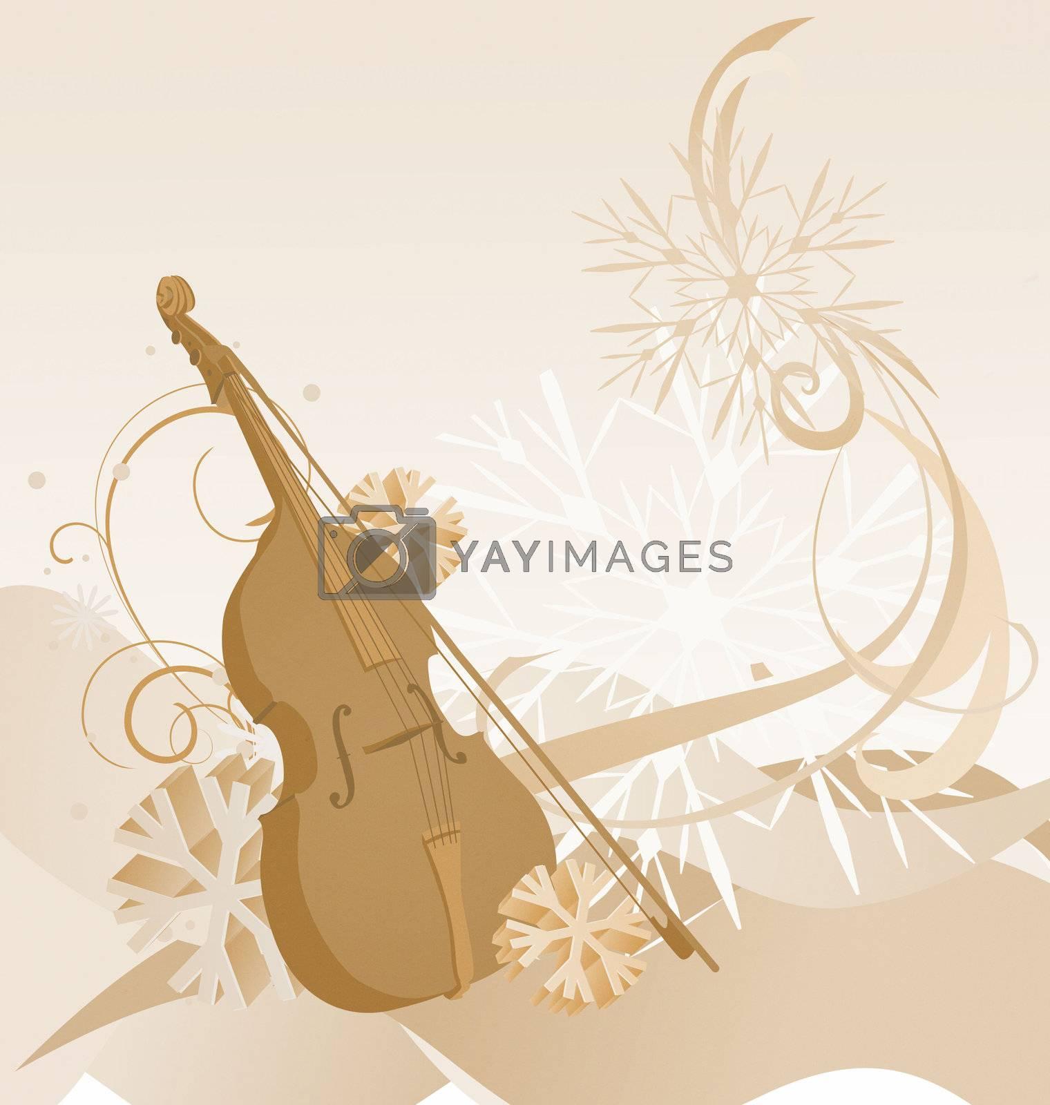 brown retro violin winter illustration
