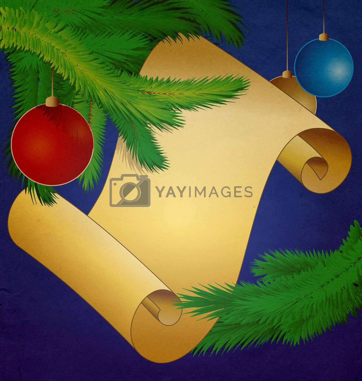 christmas scroll vintage illustration