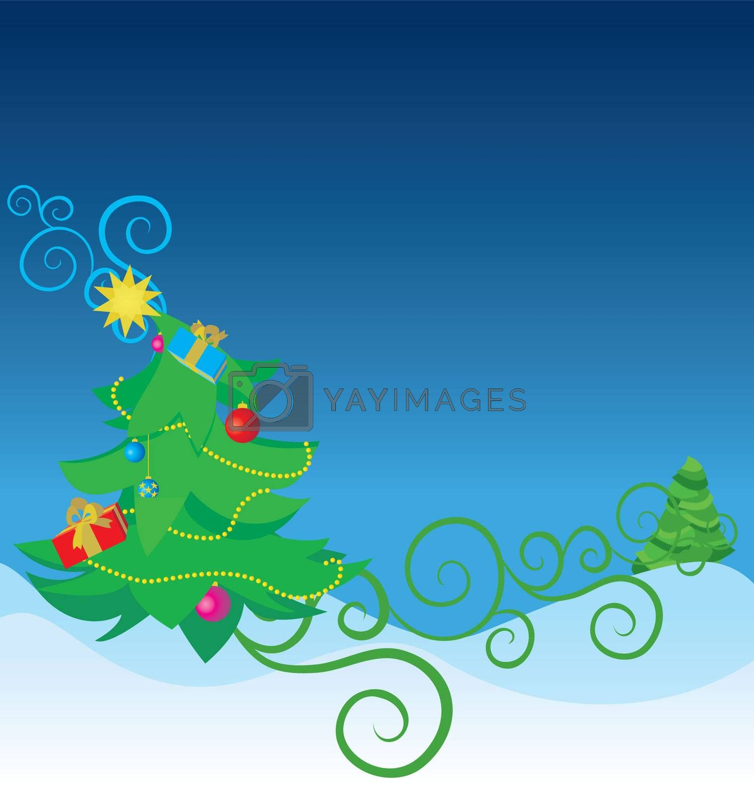 color christmas tree  illustration