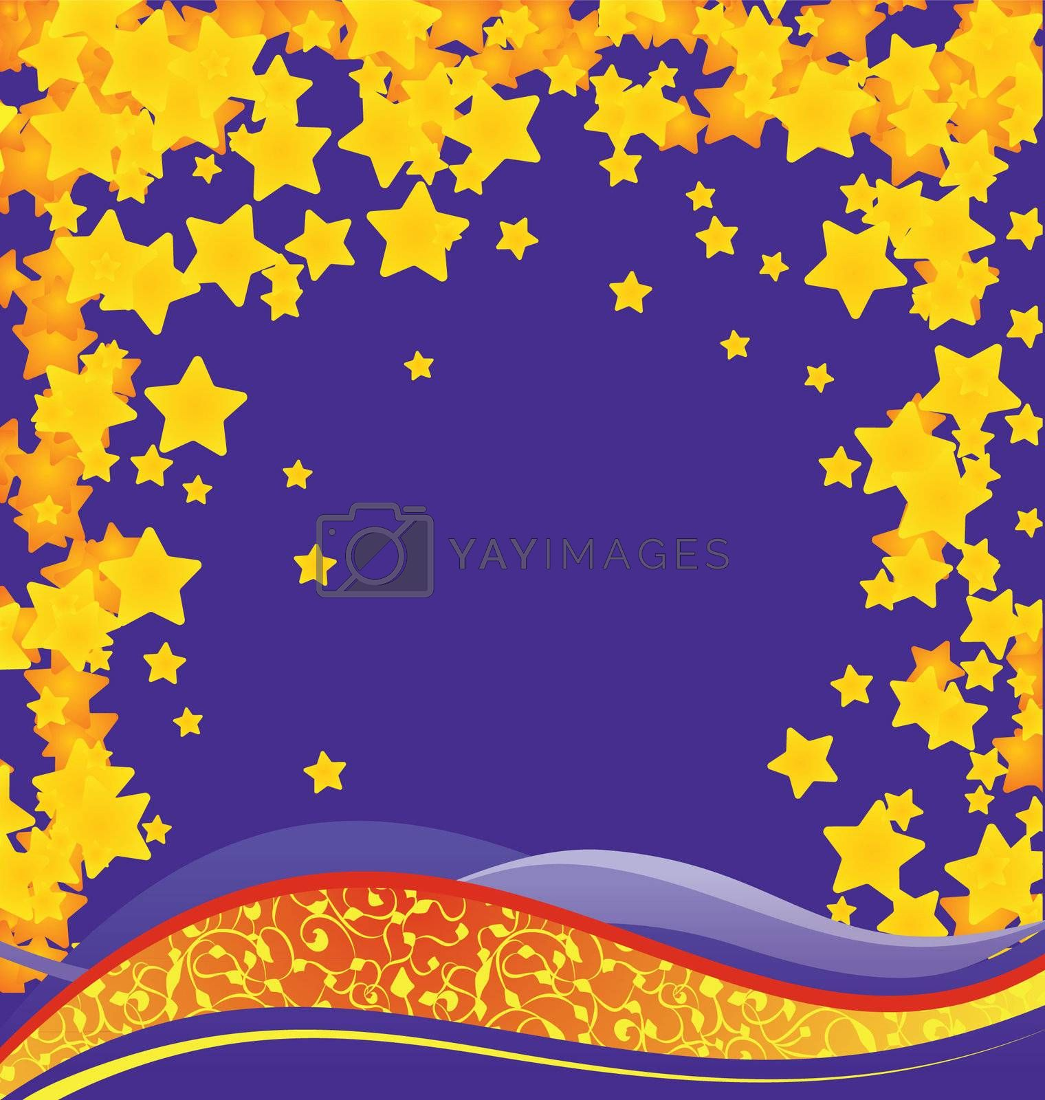 vector christmas background with golden stars cartoon