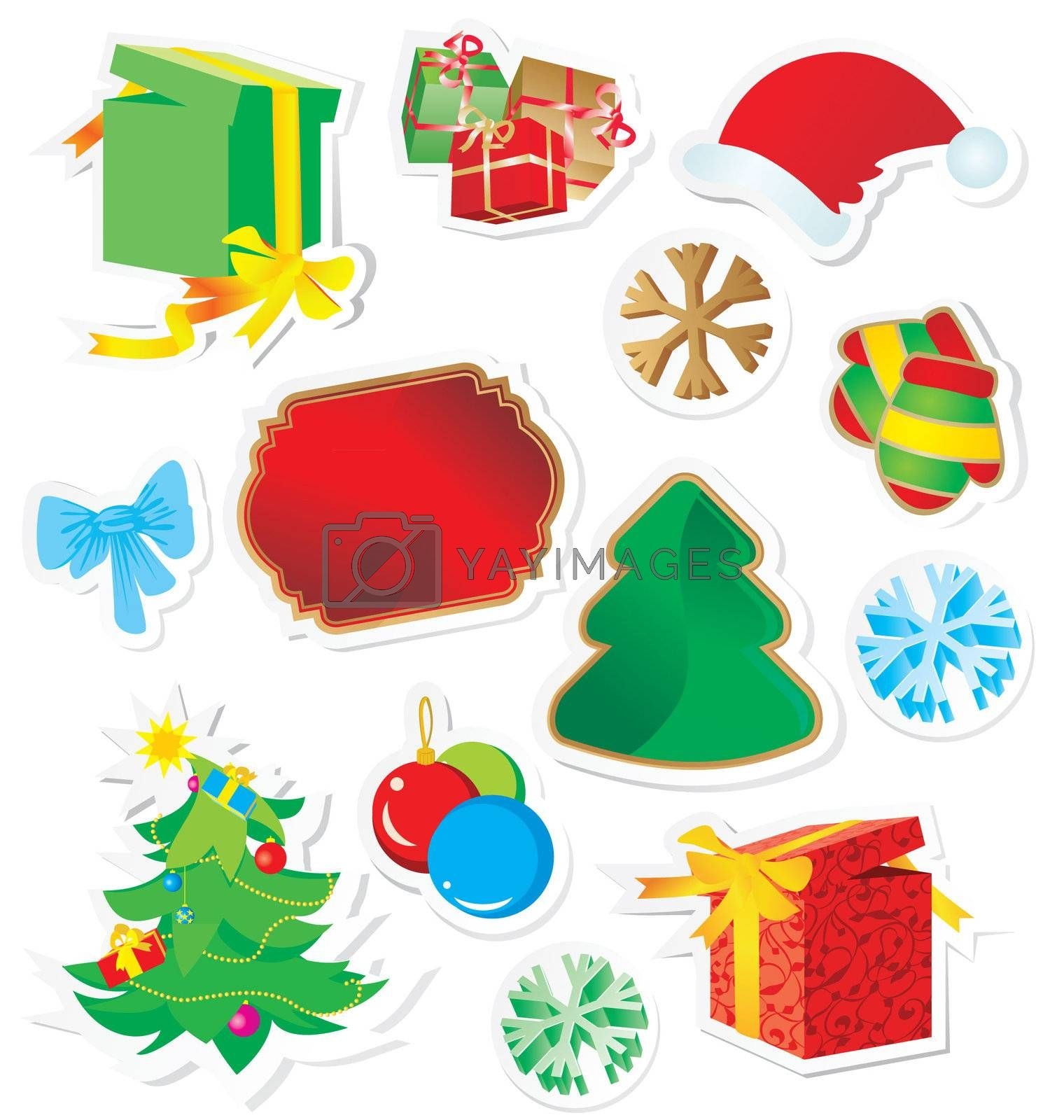 vector set of color christmas stickers isolated on white