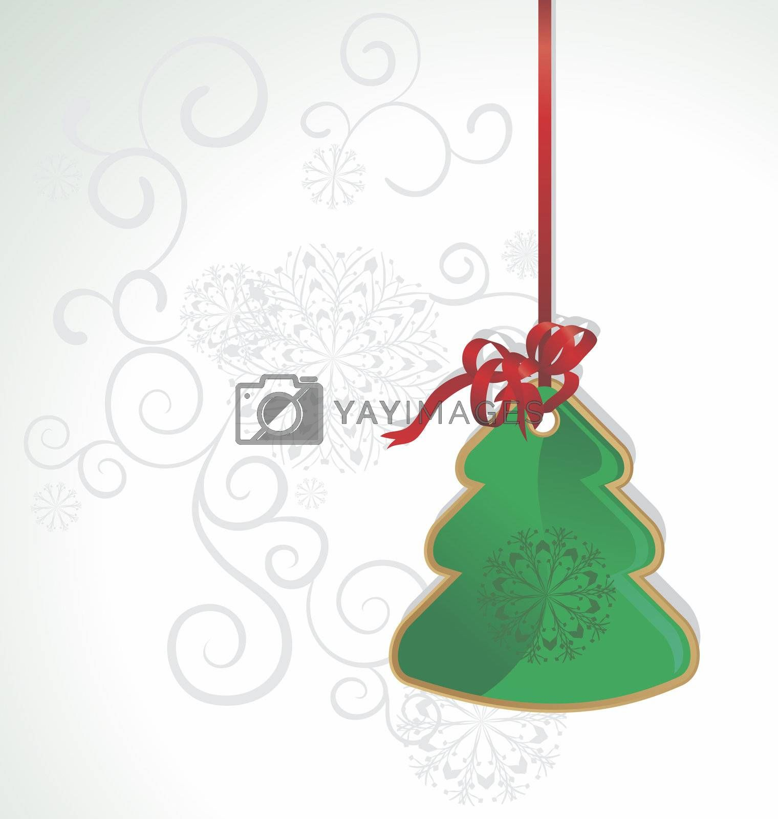 vintage christmas tree on red ribbon illustration