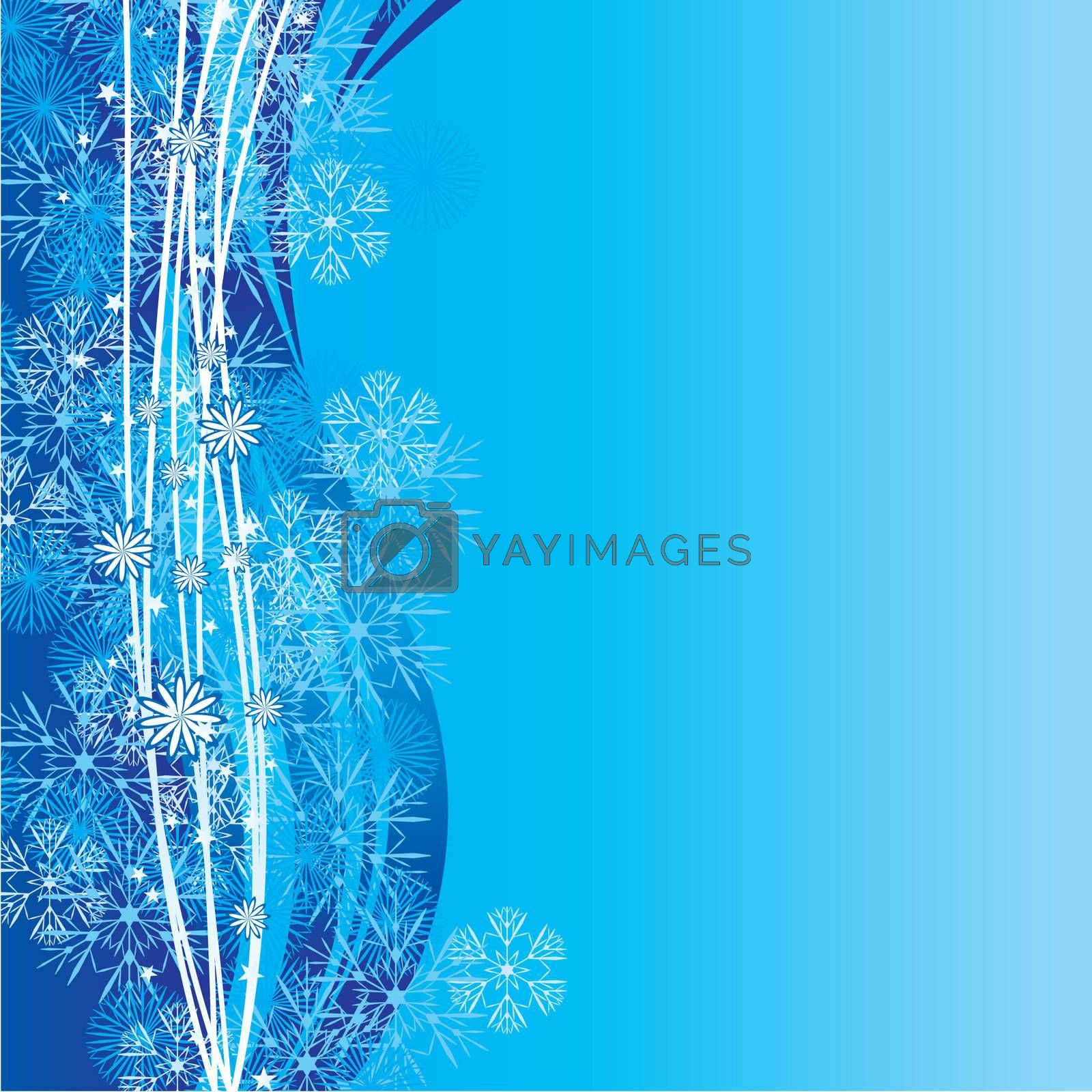 blue cyan snowflakes background