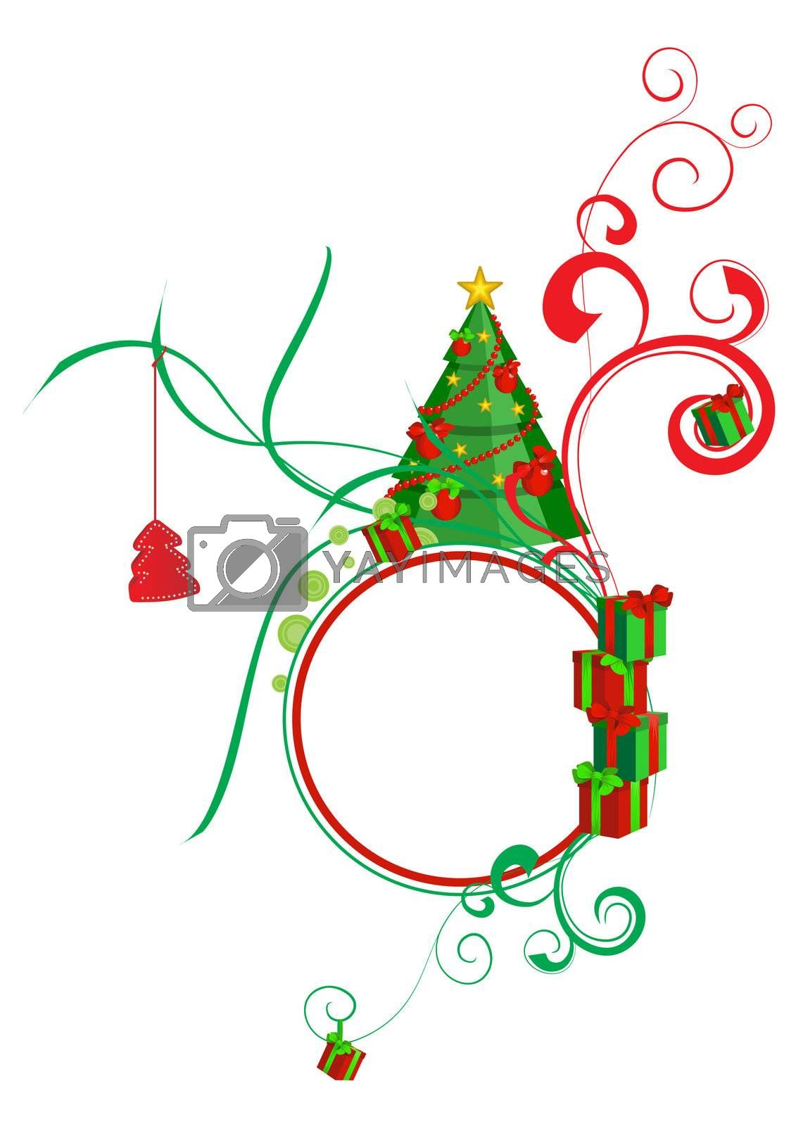 Colorful illustration with decorated green Christmas tree