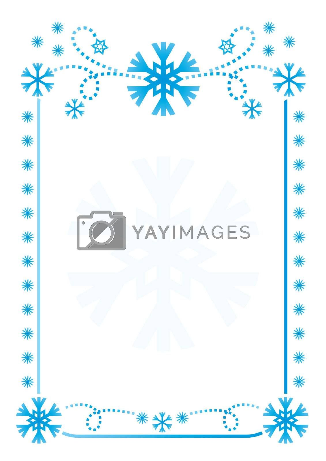 snowflakes frame background. Vector illustration