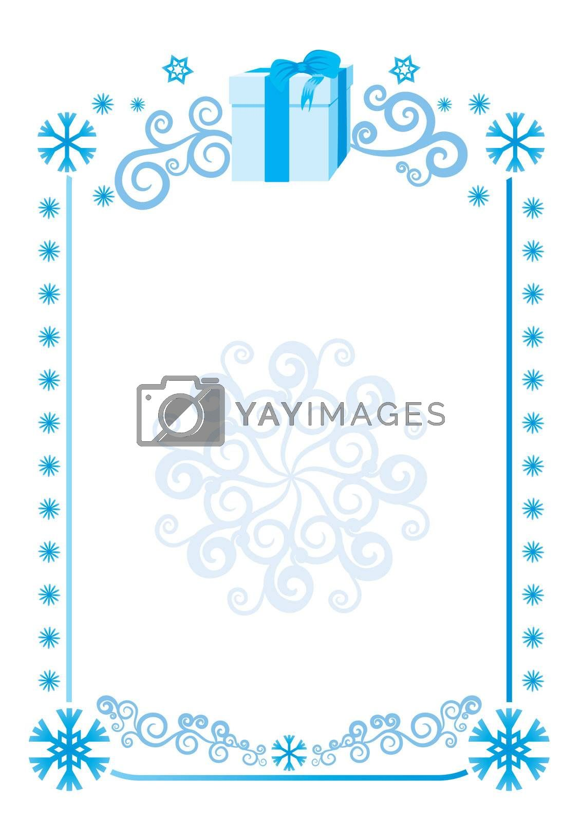 Beautiful snowflakes frame background. Vector illustration