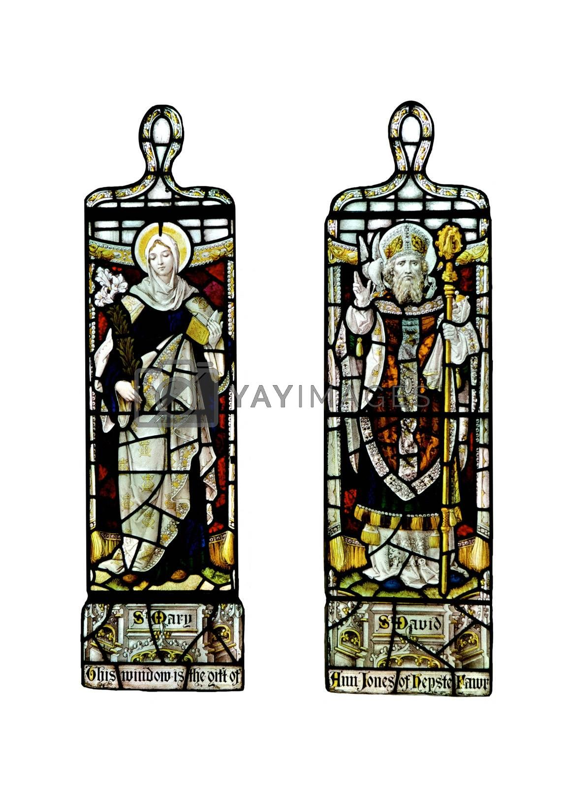 Religious stain glass windows with two panels, on a white background
